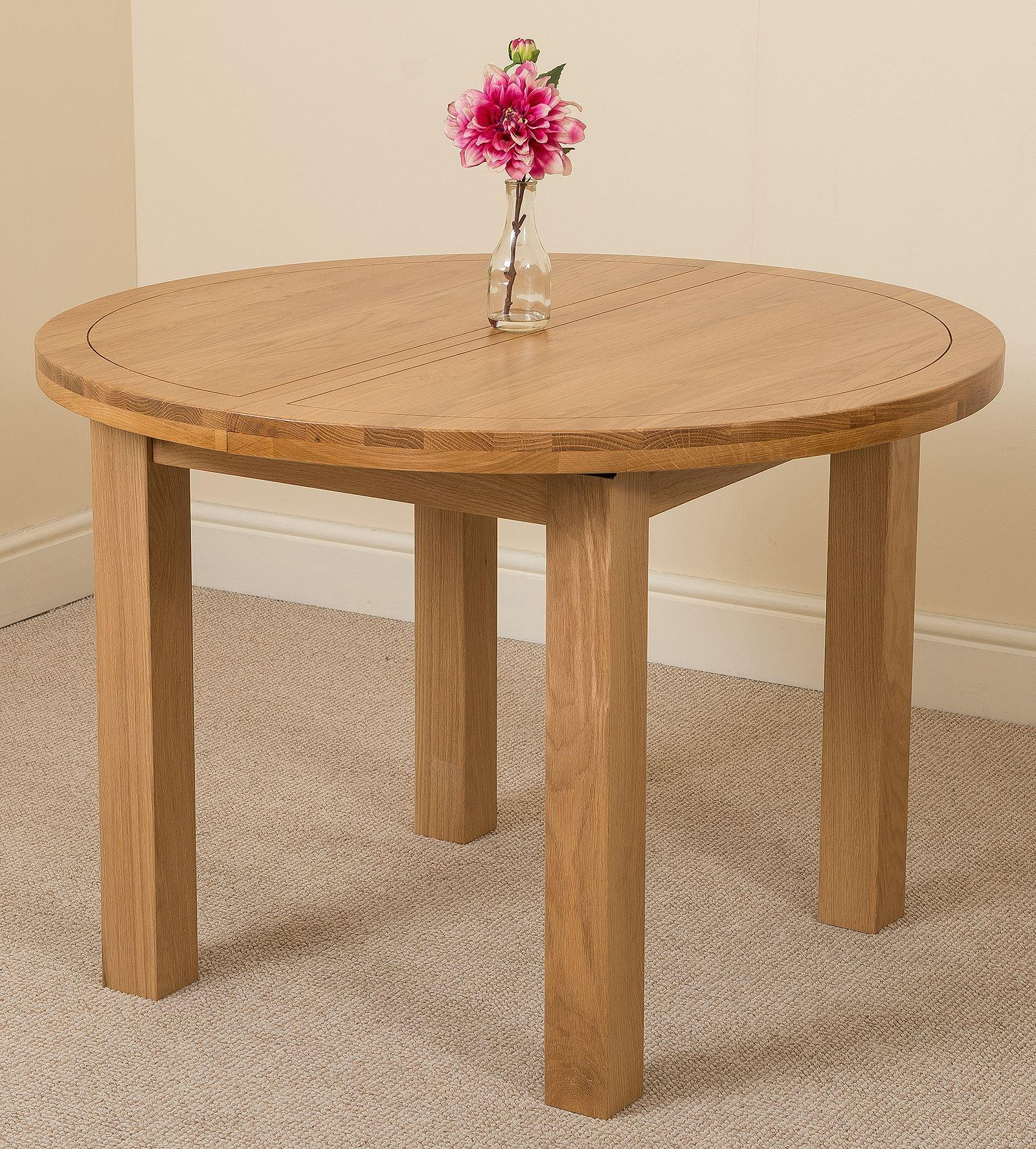 Edmonton Oak Extending Round Dining Table