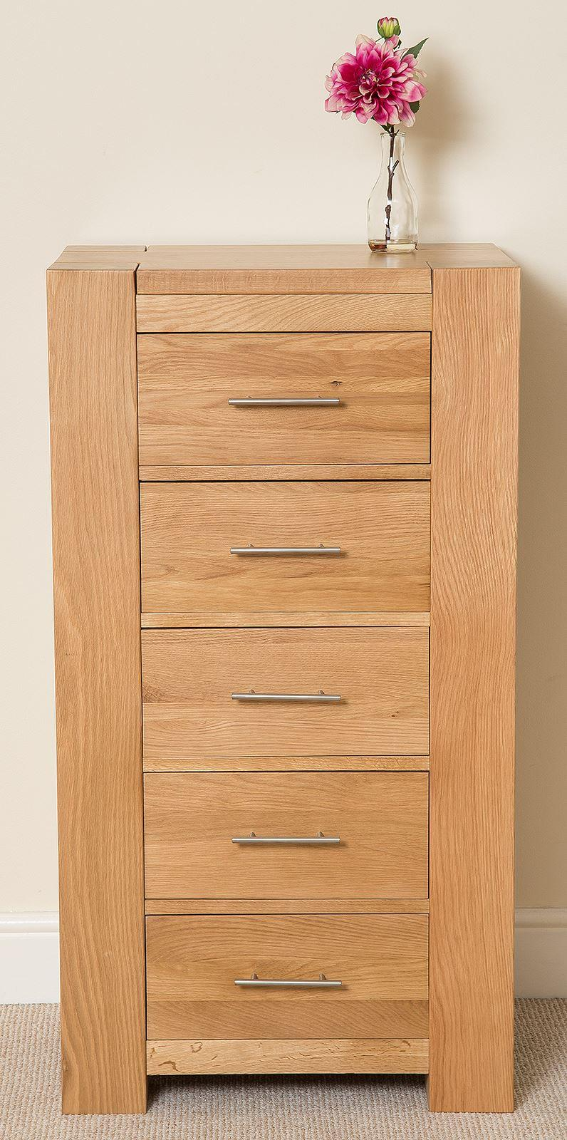 Kuba Solid Oak 5 Drawer Tallboy Chest