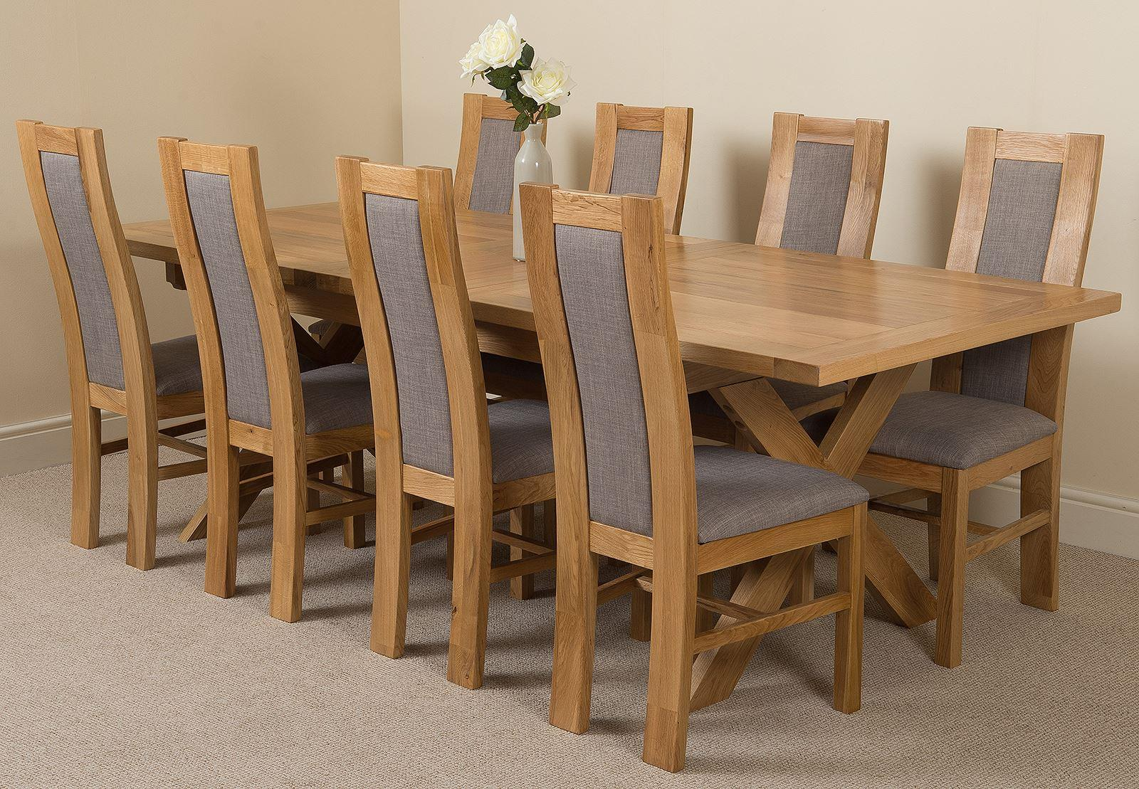 Vermont Extending Kitchen Solid Oak Dining Table & 8 Solid Oak Fabric Chairs