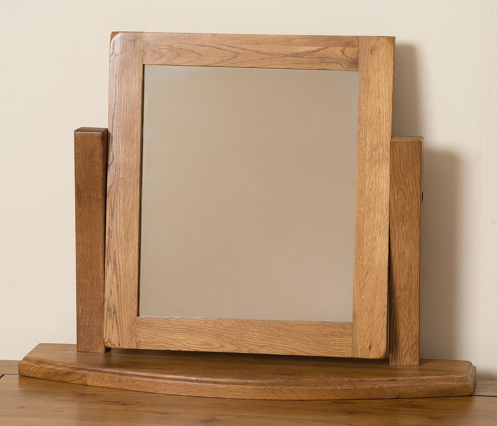 French Chateau Rustic Solid Oak Swivel Table Mirror