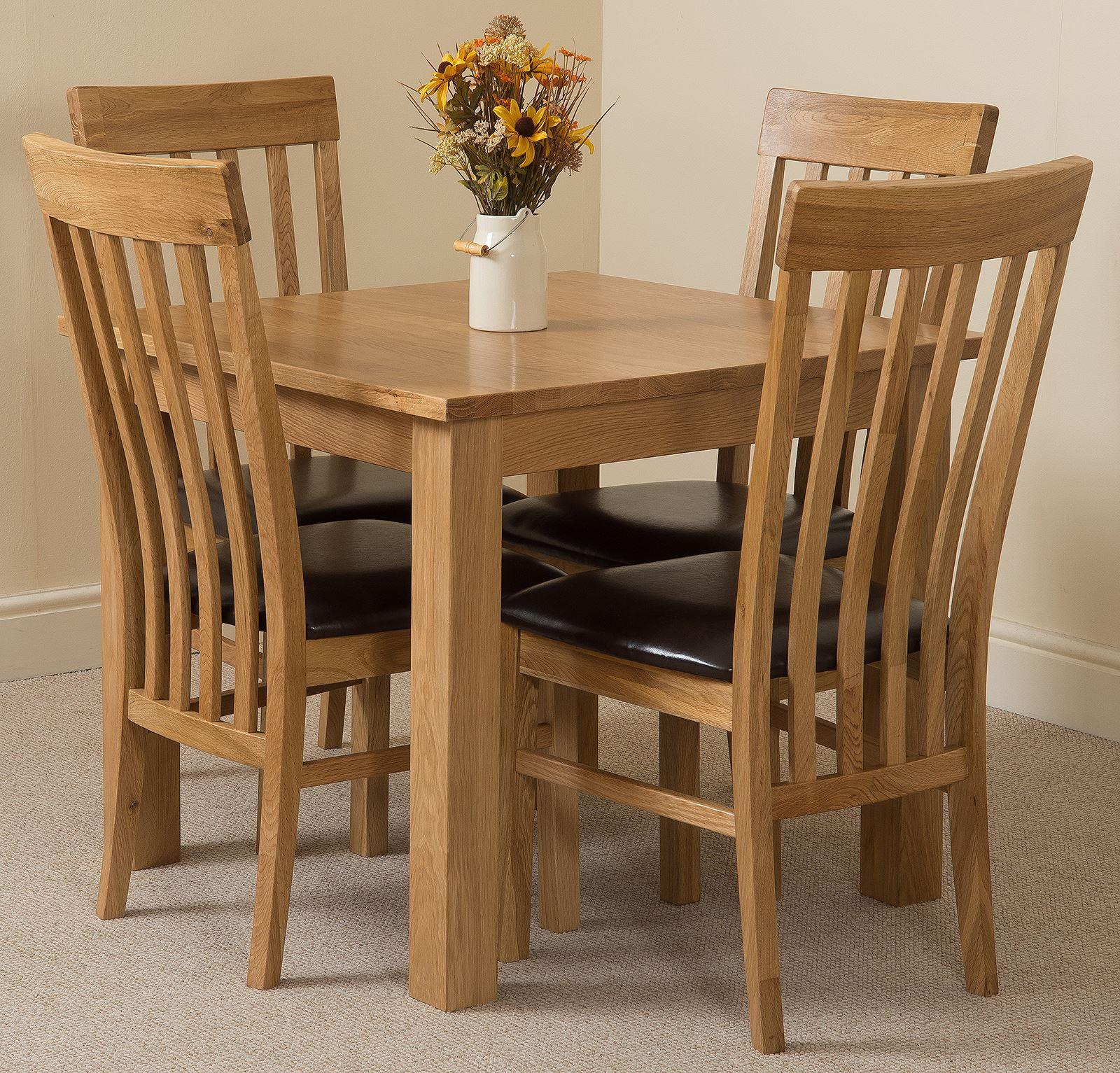 Oslo Solid Oak Dining Table and 4 Harvard Solid Oak Leather Chairs