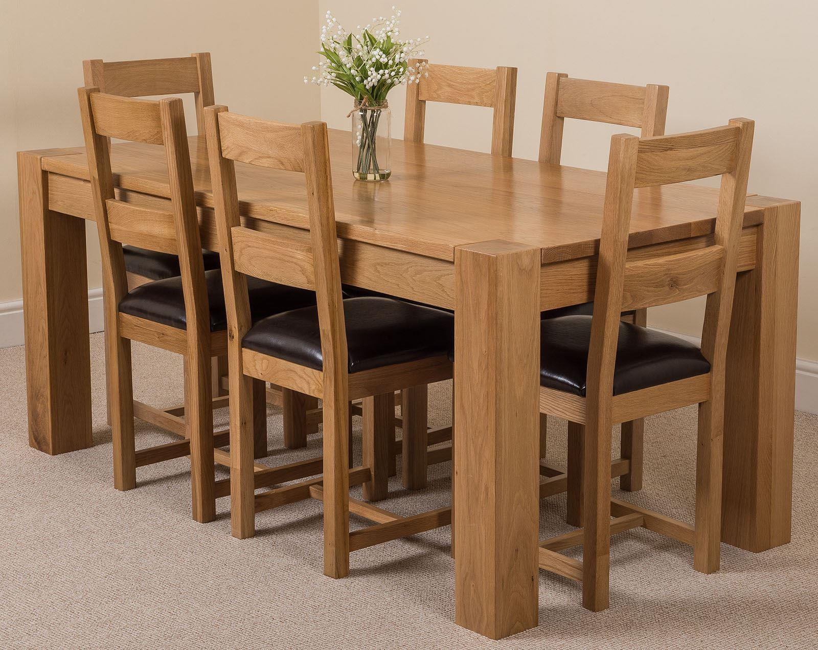 Kuba Solid Oak Dining Table & 6 Lincoln Chairs