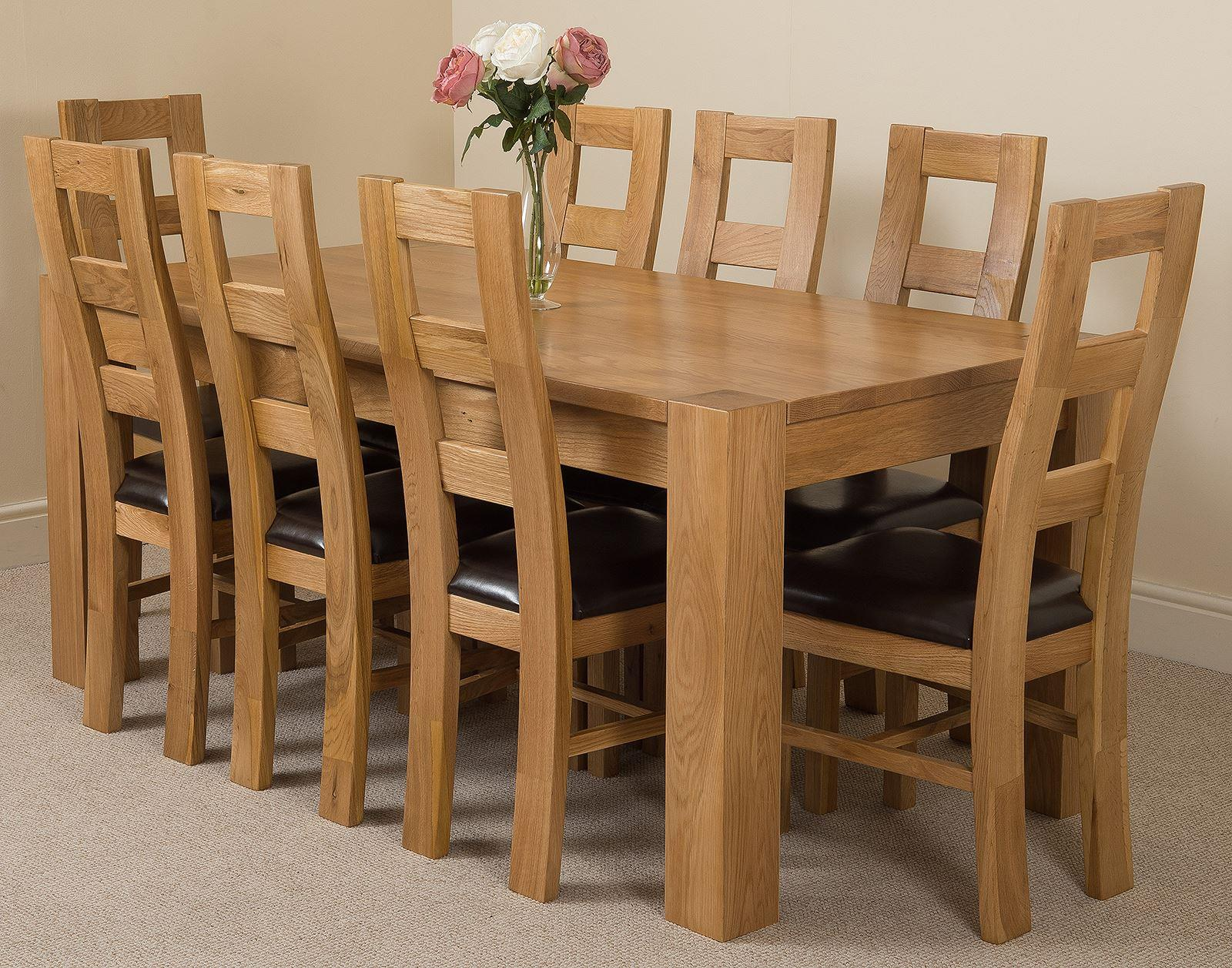 Kuba Solid Oak Dining Table & 8 Yale Solid Oak Leather Chairs