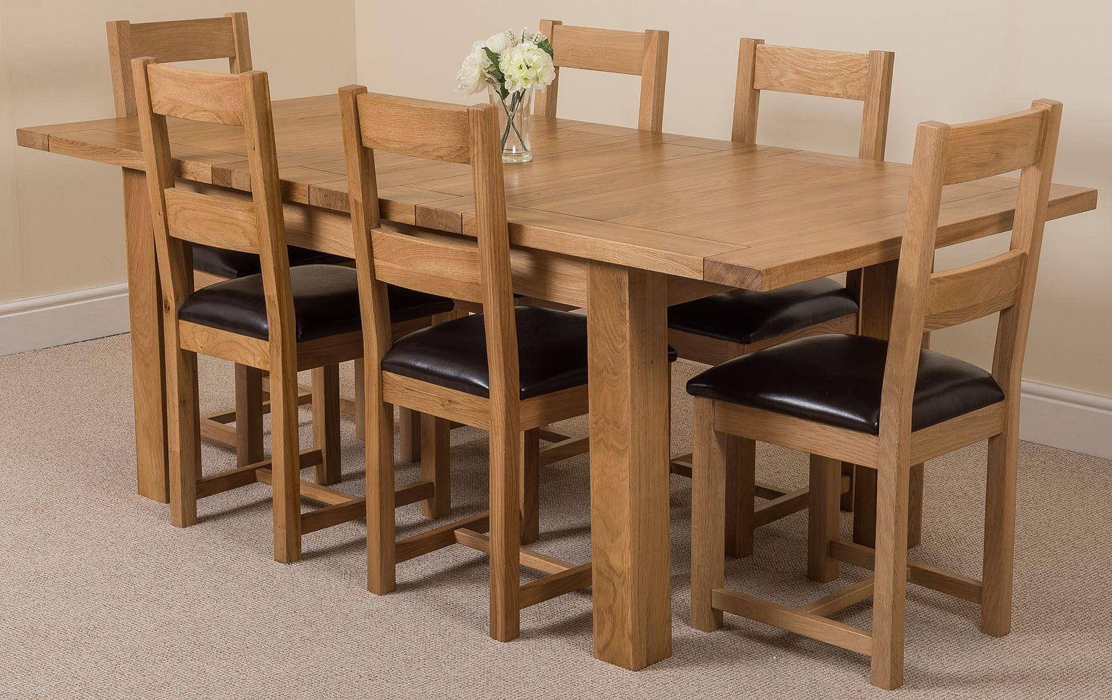 Seattle Solid Oak Extending  Dining Table & 6 Lincoln Oak Chairs