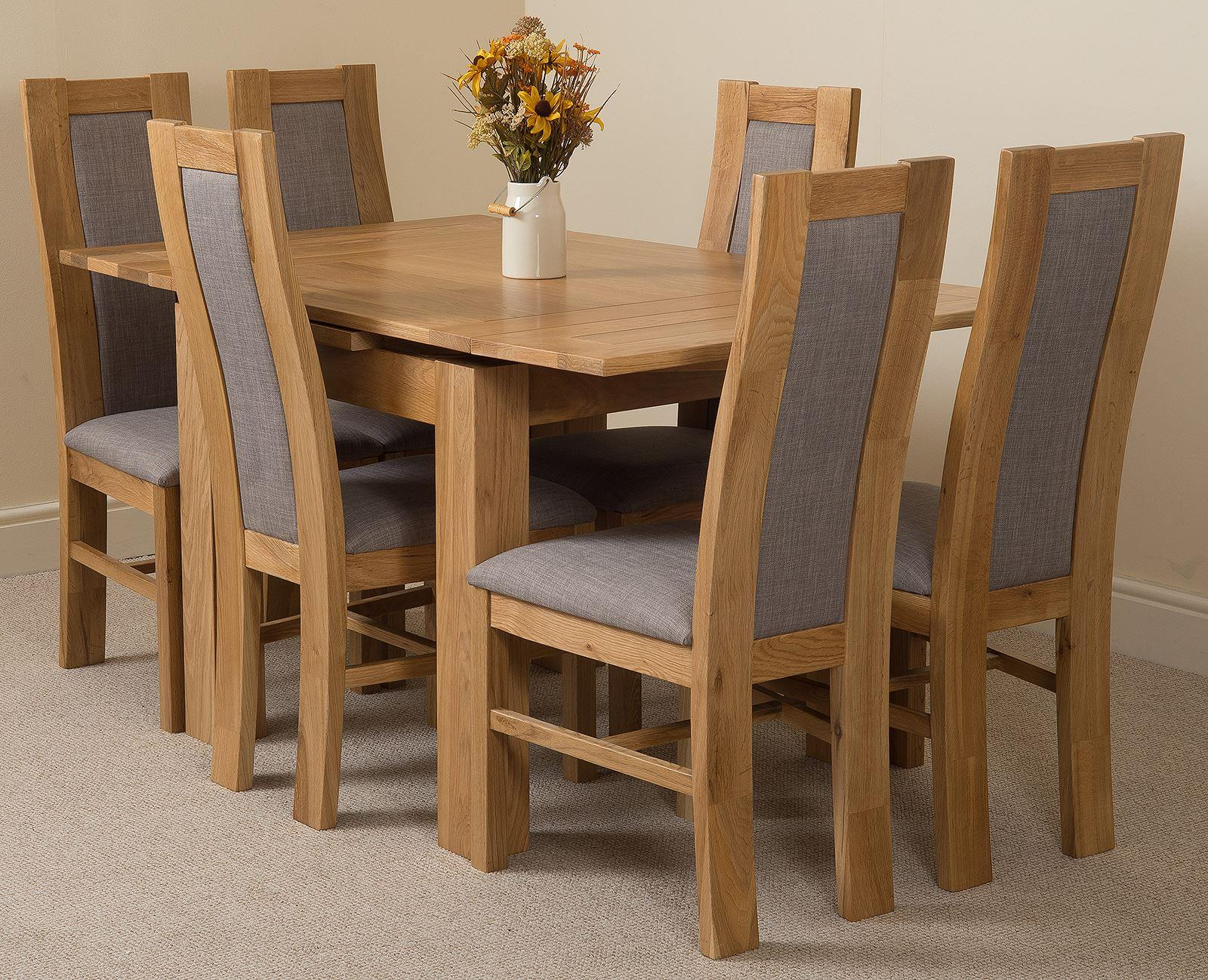 Richmond Oak 90  150 cm Extending Dining Table & 6 Stanford Solid Oak Fabric Chairs