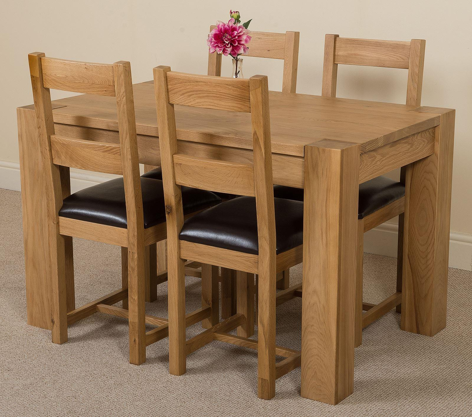 Kuba Solid Oak 125 cm Dining Table with 4 Lincoln Chairs