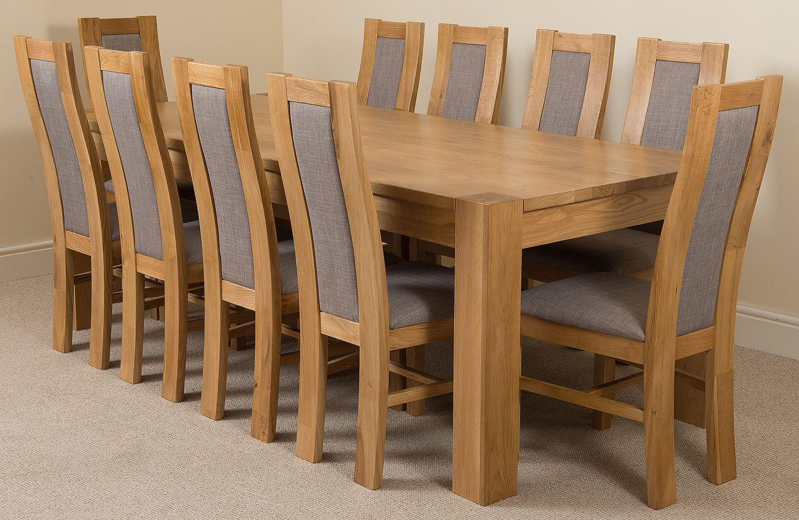 Kuba Solid Oak 220 cm and 10 Stanford Solid Oak Fabric Chairs