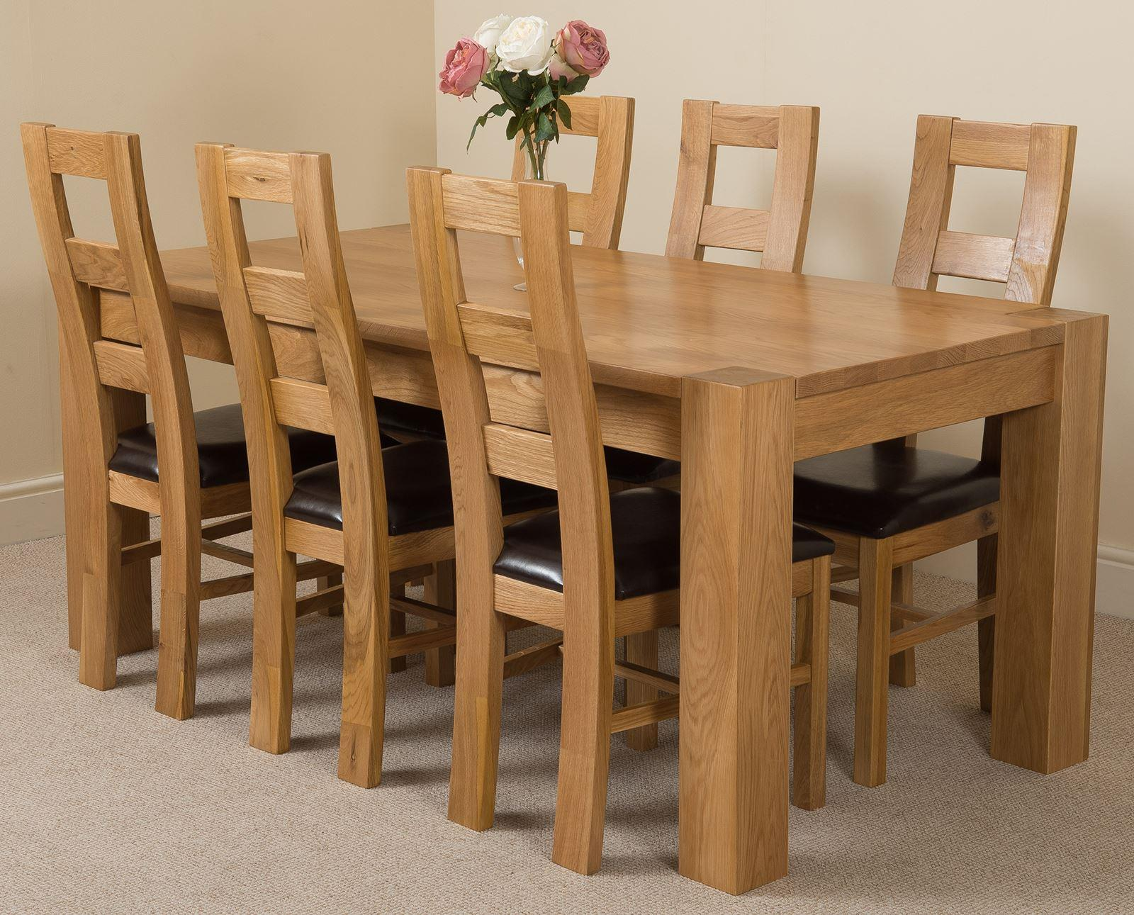 Kuba Solid Oak Dining Table & 6 Yale Solid Oak Leather Chairs