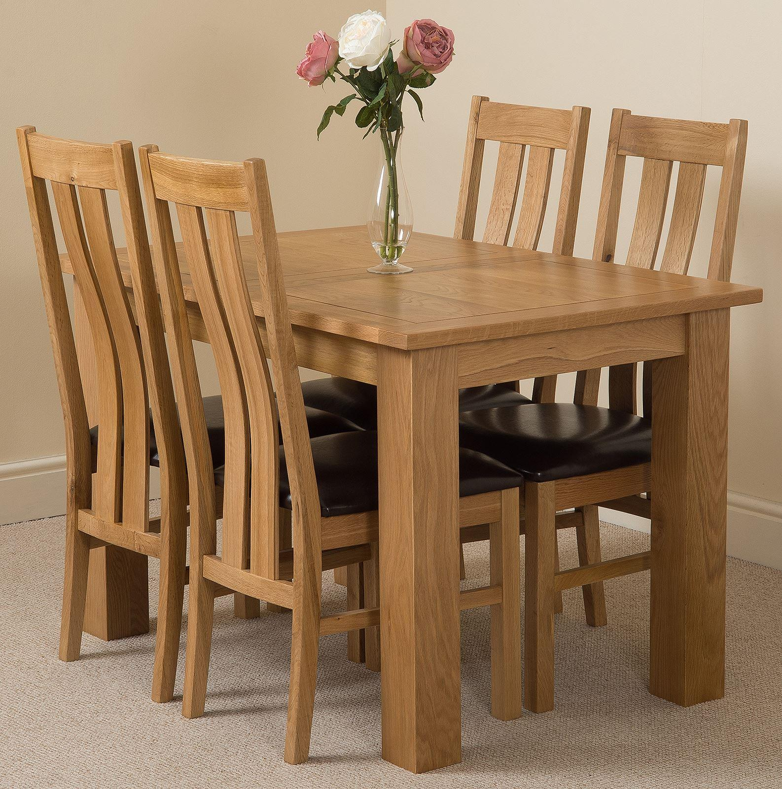 Hampton 120cm - 160cm Extending Dining Table & 4 Princeton Solid Oak Leather Chairs