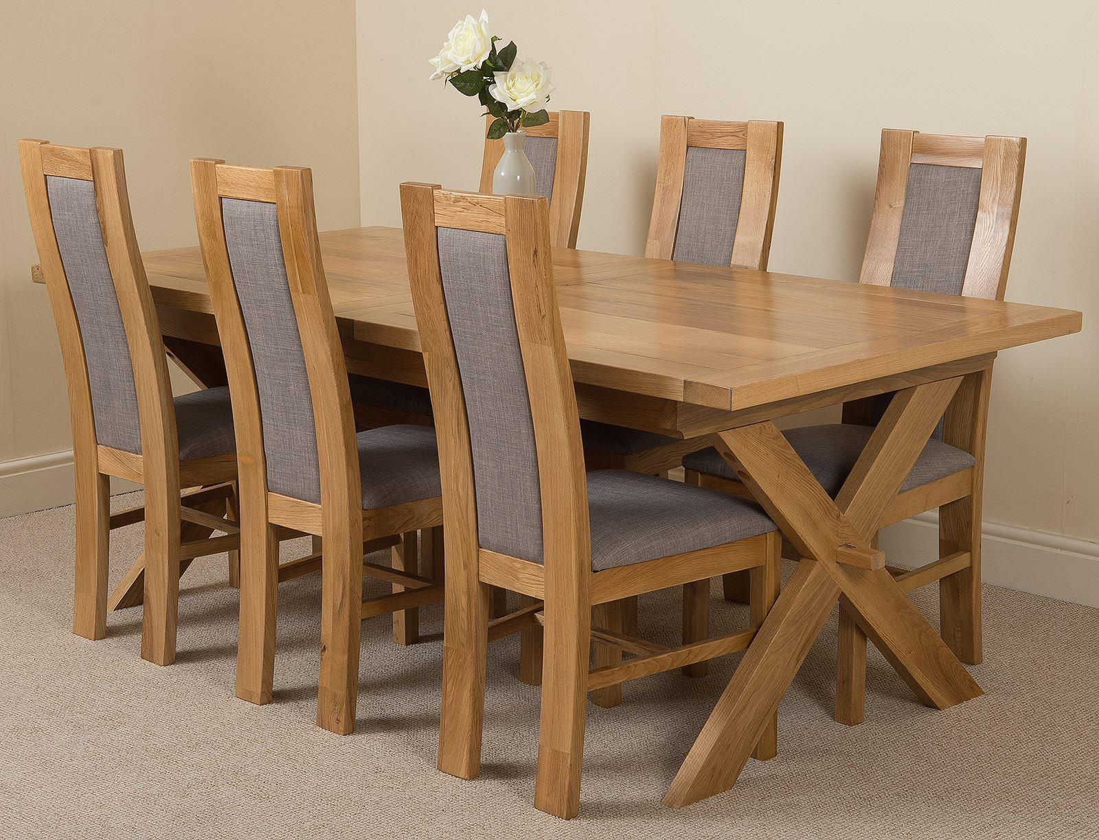 Vermont Extending Kitchen Solid Oak Dining Table & 6 Solid Oak Fabric Chairs