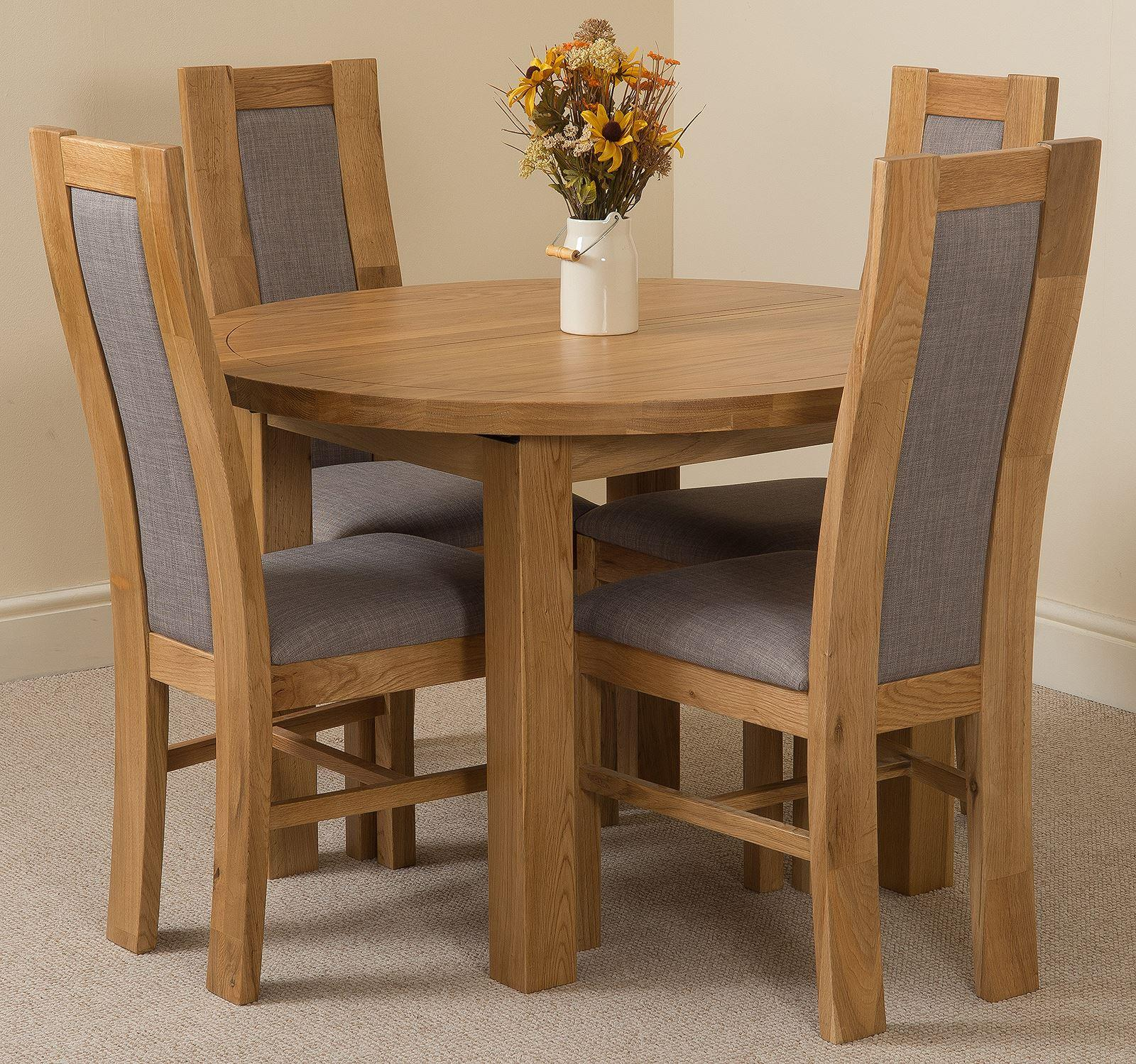 Edmonton Oak Extending Round Dining Table & 4 Stanford Solid Oak Fabric Chairs