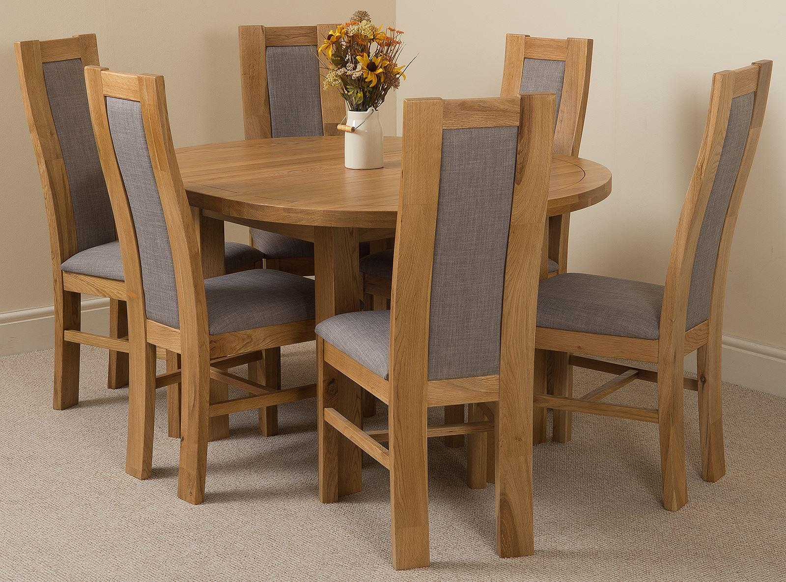 Edmonton Oak Extending Round Dining Table & 6 Stanford Solid Oak Fabric Chairs