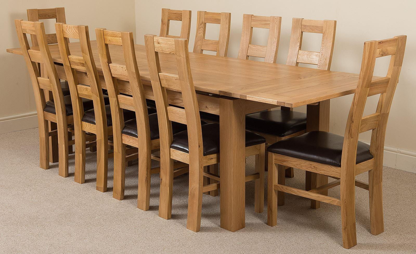 Chairs Richmond Oak 200 - 280 cm Extending Dining Table & 10 Yale Solid Oak Leather Chairs