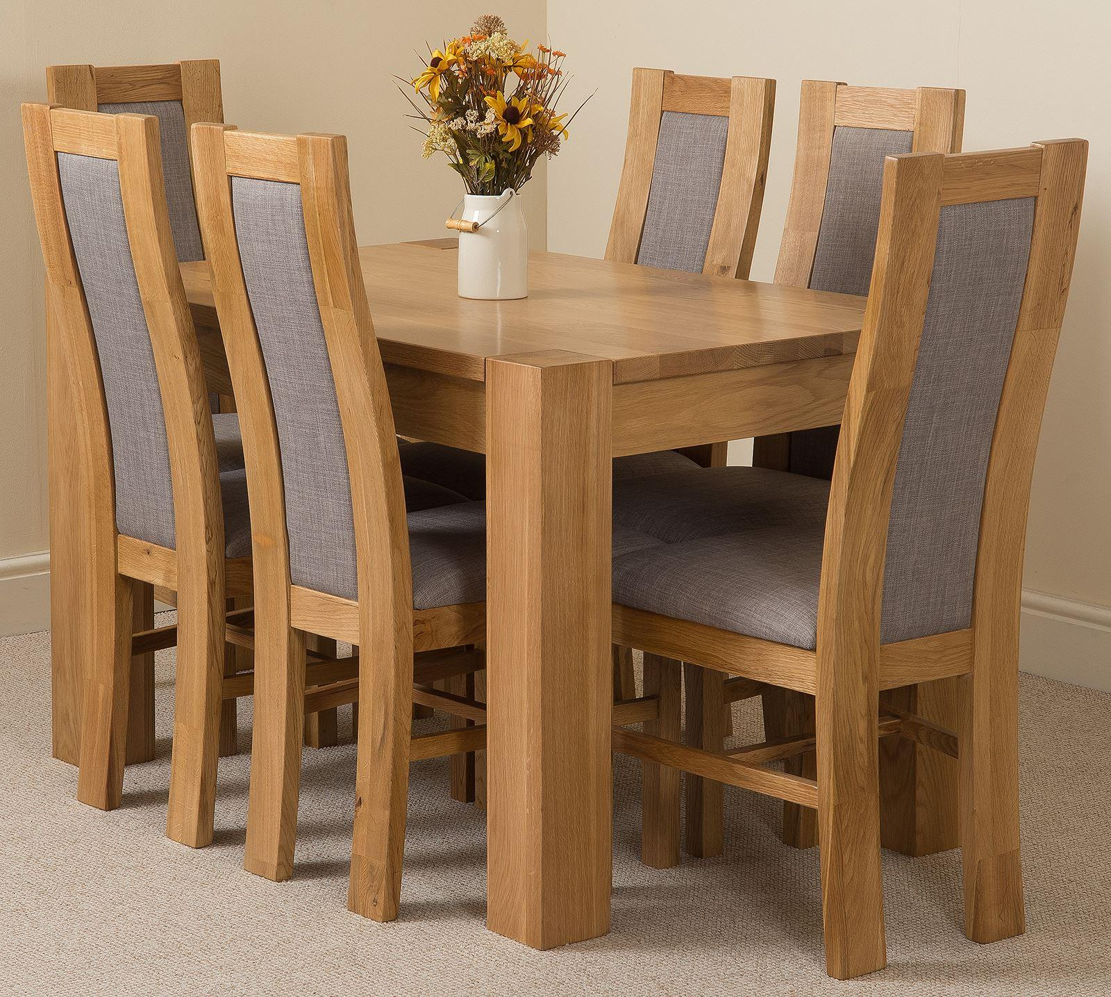 Kuba Solid Oak 125cm and 6 Stanford Solid Oak Fabric Chairs