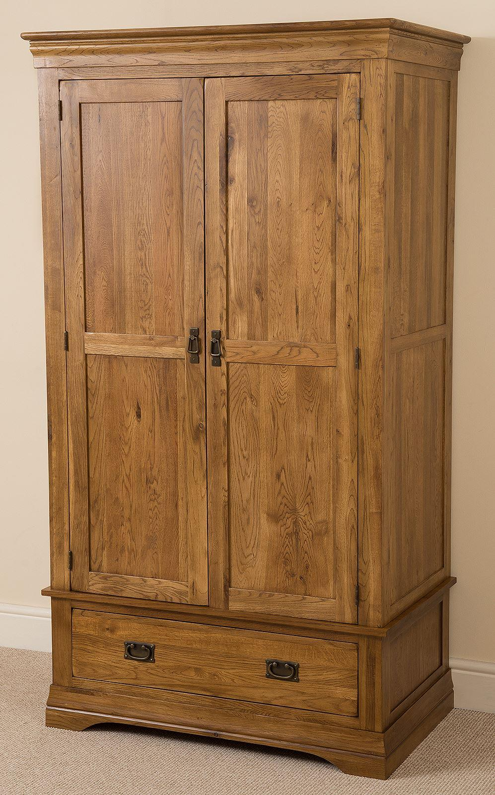 French Chateau Rustic Solid Oak Double Wardrobe