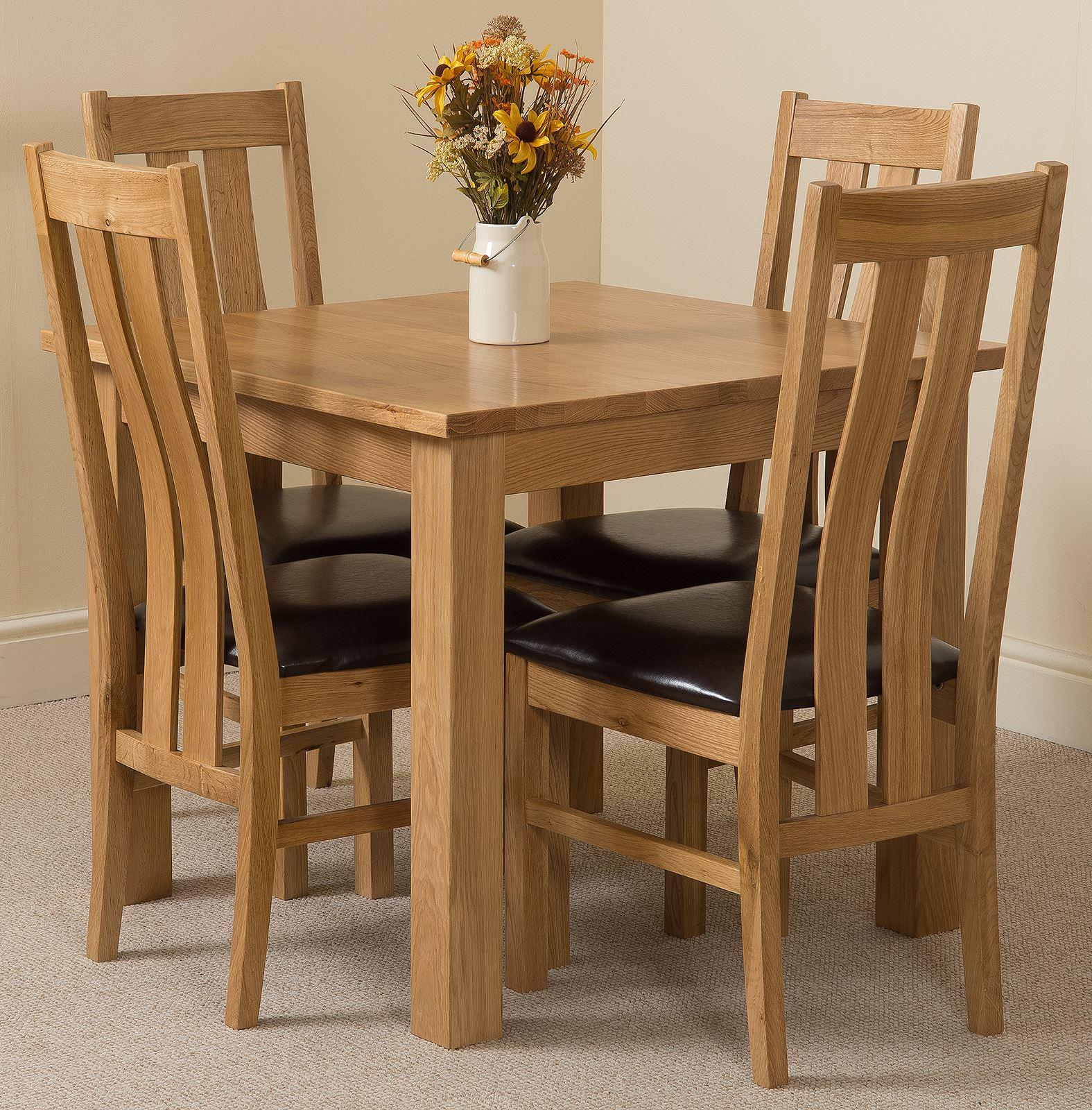 Oslo Solid Oak Dining Table and 4 Princeton Solid Oak Leather Chairs