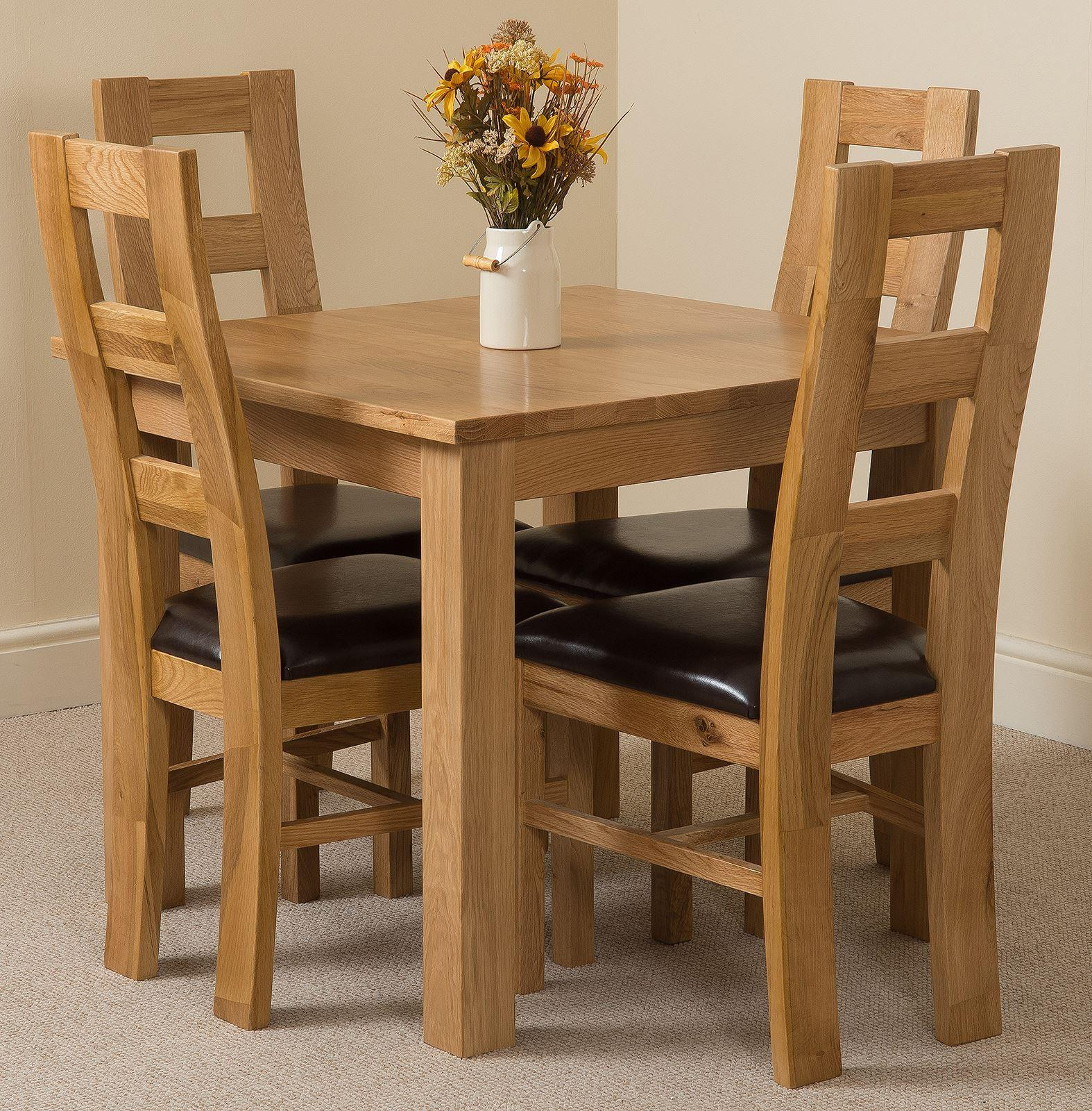 Oslo Solid Oak Dining Table and 4 Yale Solid Oak Leather Chairs