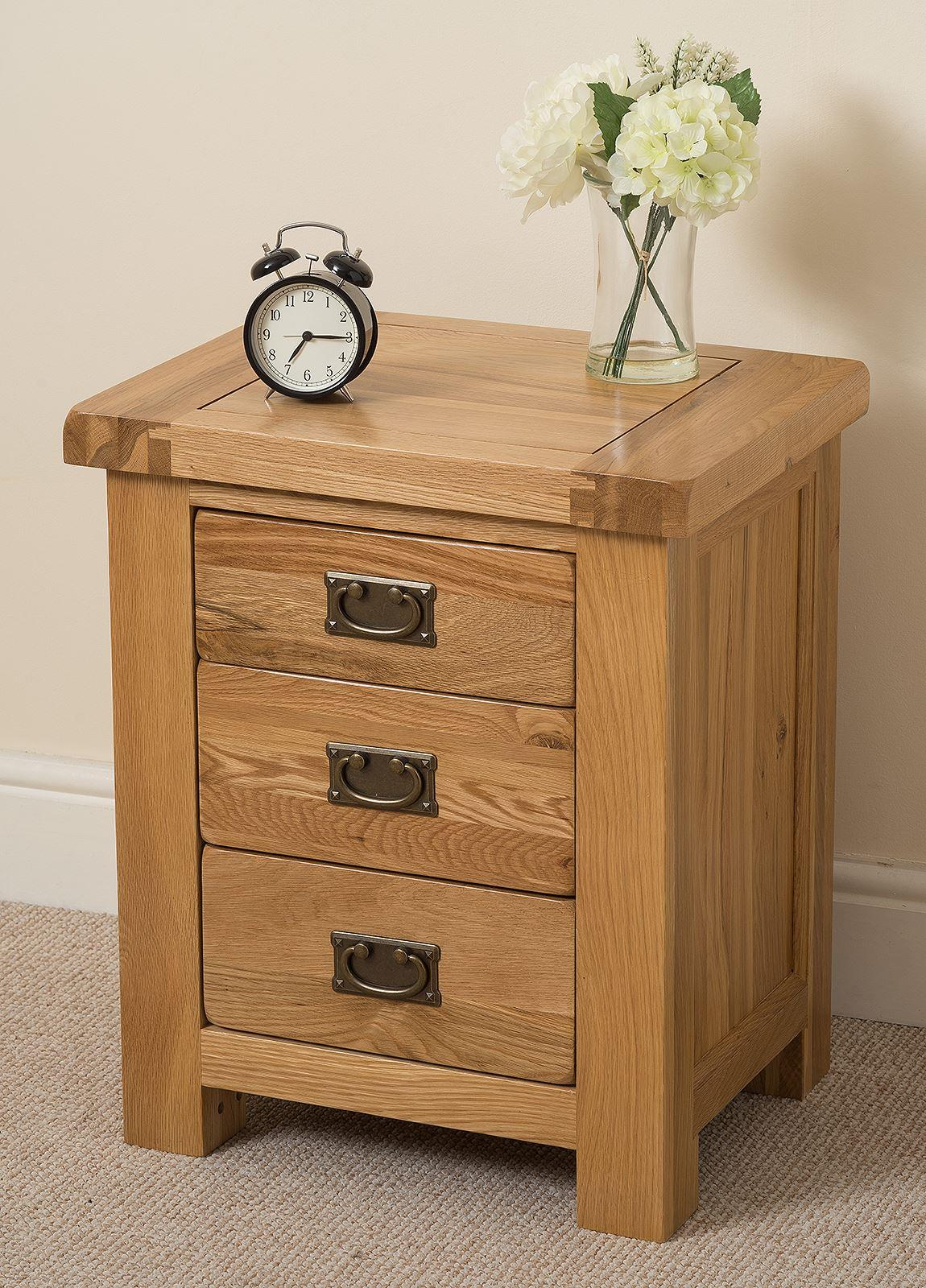 Cottage Light Solid Oak 3 Drawer Bedside Cabinet
