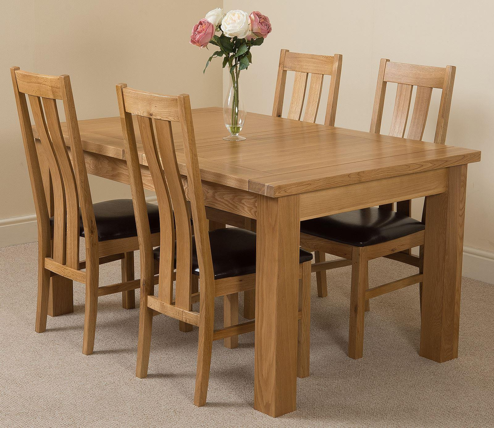 Seattle Extending Dining Table & 4 Princeton Solid Oak Leather Chairs