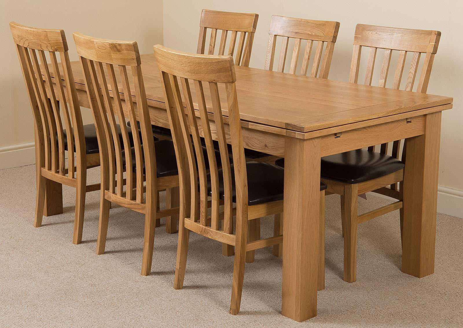 Furniture Richmond Oak 200 - 280 cm Extending Dining Table & 6 Harvard Solid Oak Leather Chairs