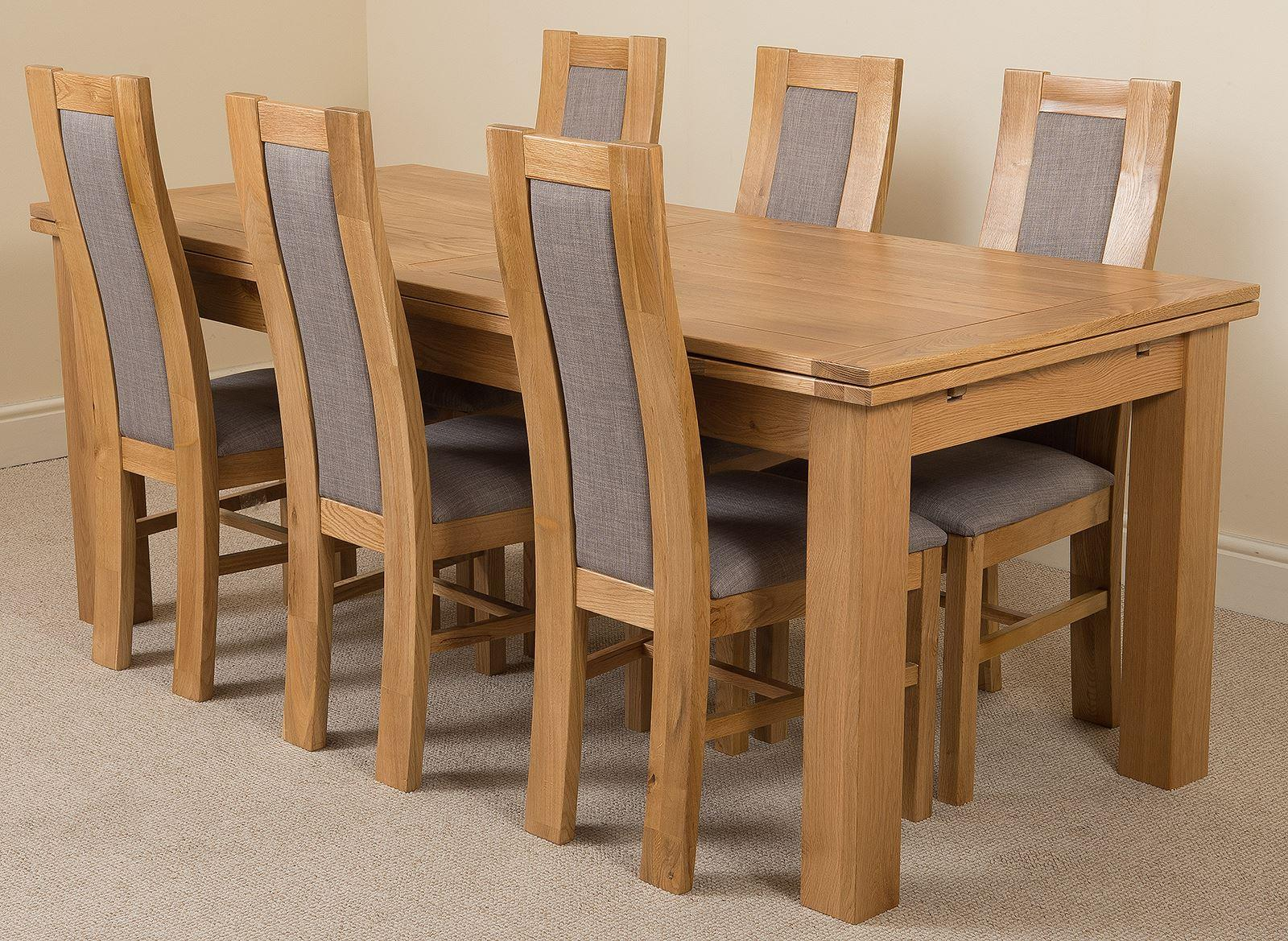Richmond Oak 200  280 cm Extending Dining Table & 6 Stanford Solid Oak Fabric Chairs