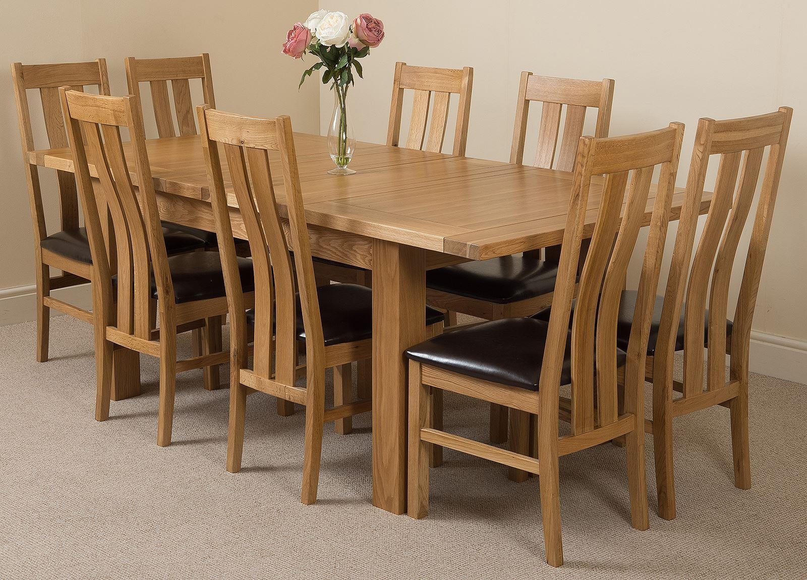 Seattle Extending Dining Table & 8 Princeton Solid Oak Leather Chairs