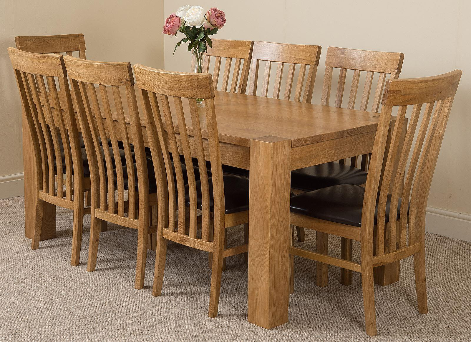 Kuba Solid Oak Dining Table & 8 Harvard Solid Oak Leather Chairs