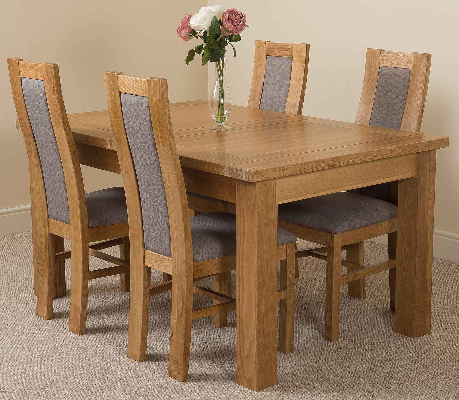 Seattle Extending Dining Table & 4 Standford Solid Oak Fabric Chairs