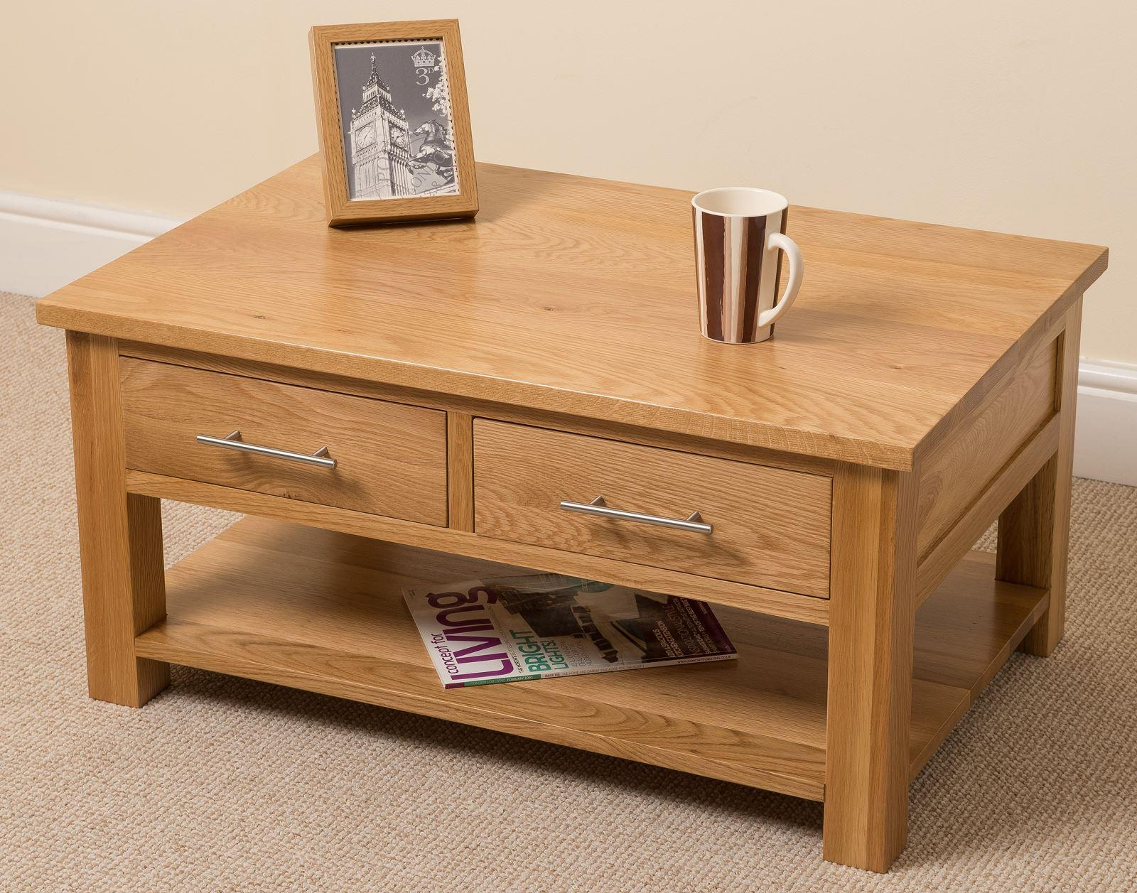 Oslo solid oak 2 drawer coffee table