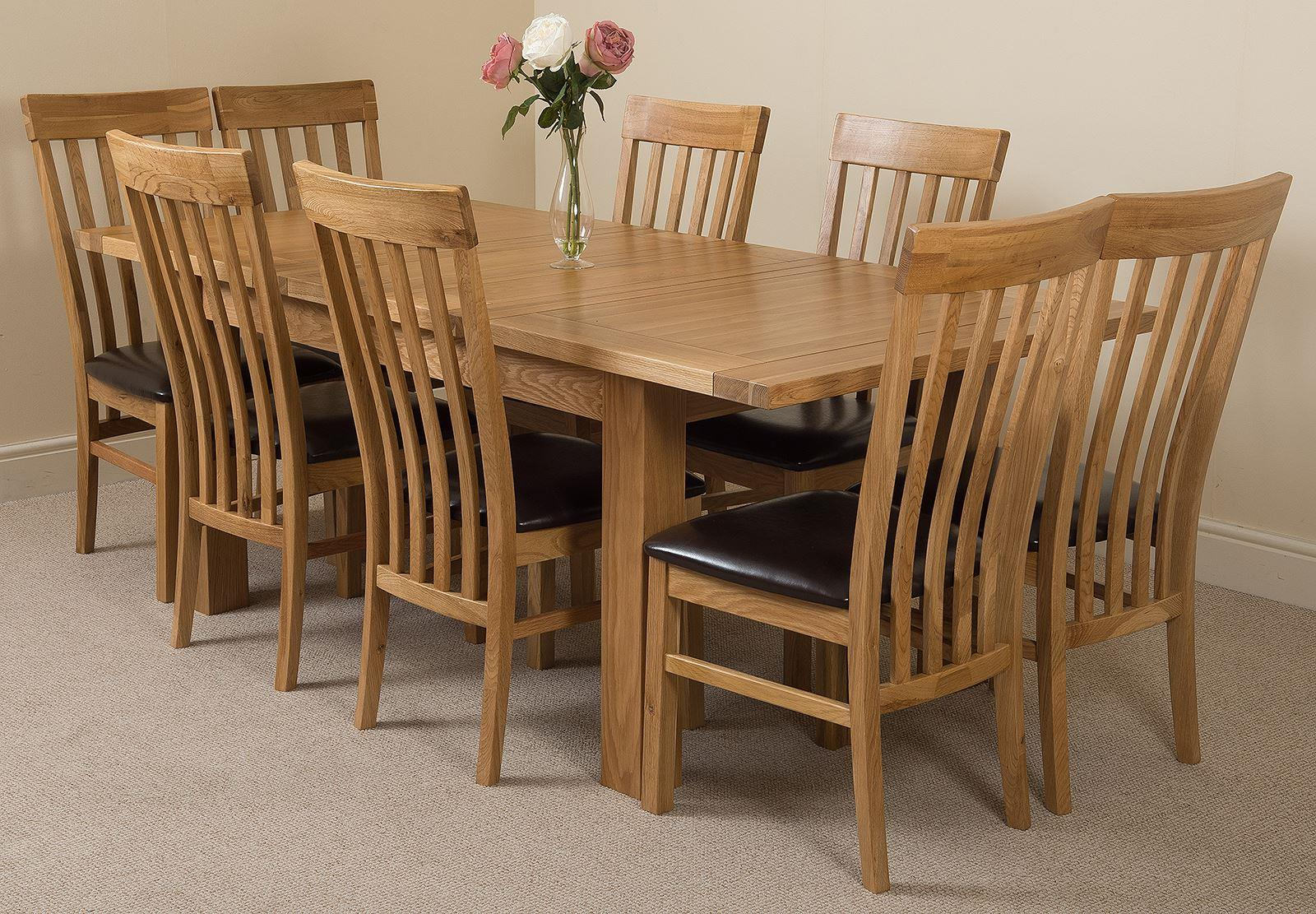 Seattle Extending Dining Table & 8 Harvard Solid Oak Leather Chairs
