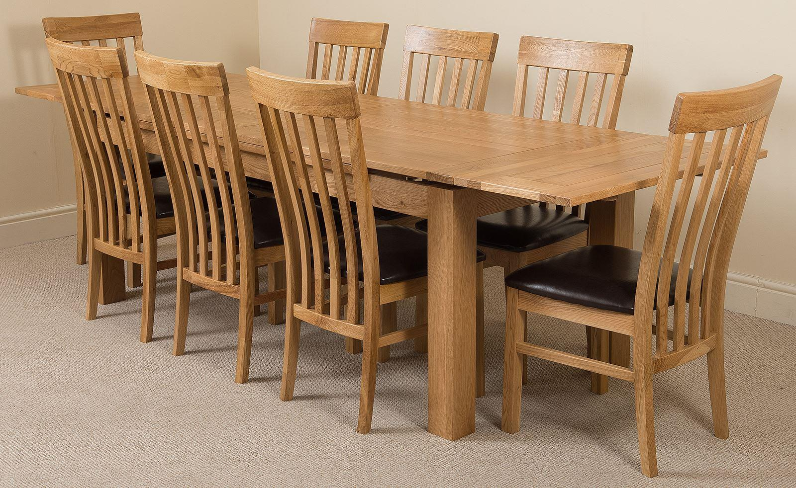 Furniture Richmond Oak 200 - 280 cm Extending Dining Table & 8 Harvard Solid Oak Leather Chairs