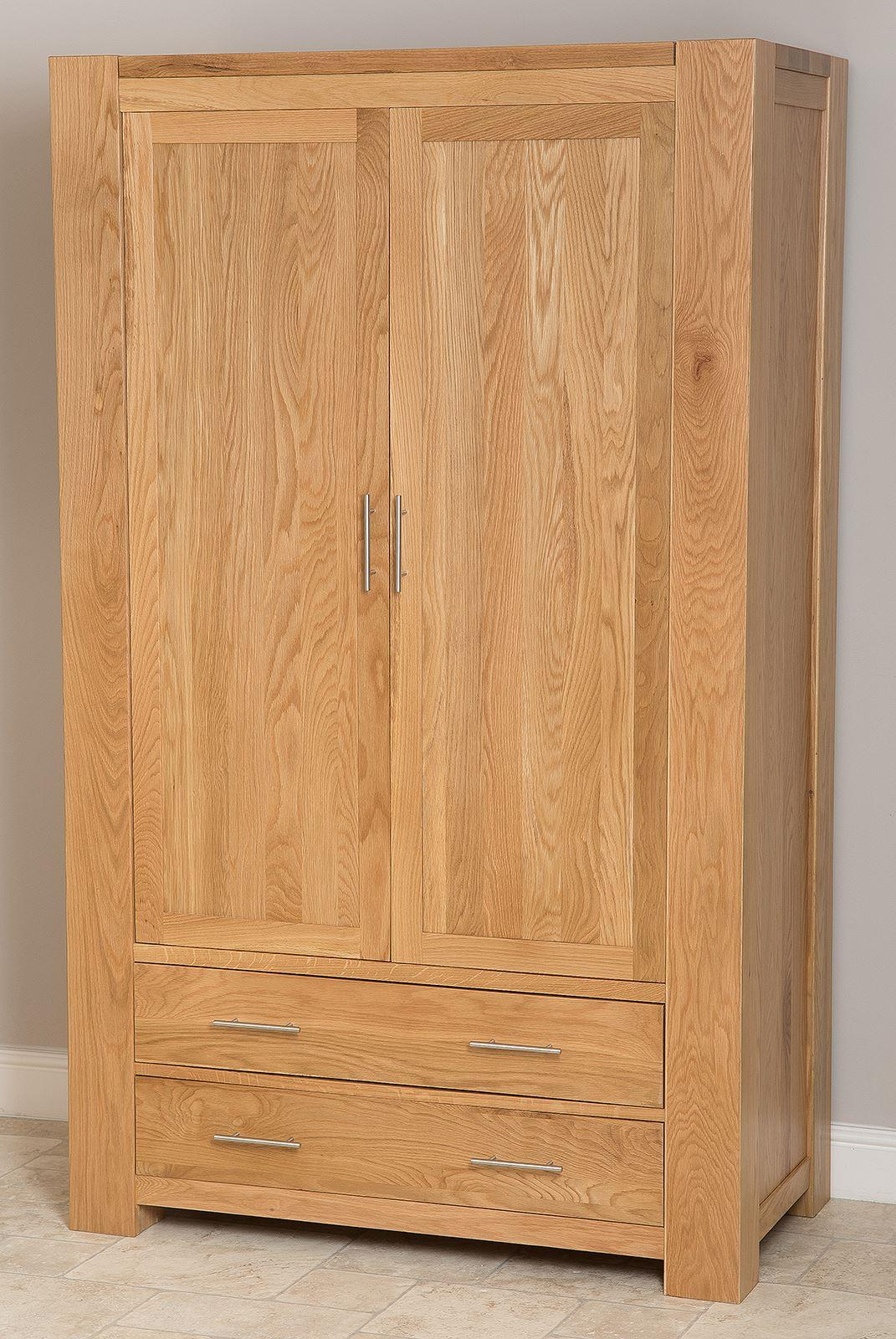 Kuba Solid Oak 2 Drawer Double Wardrobe