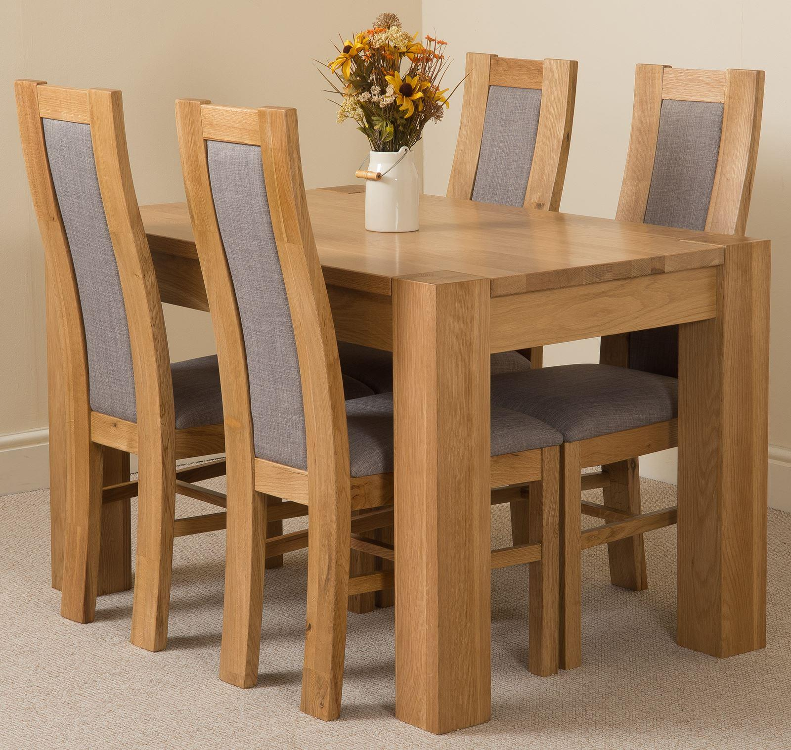 Kuba Solid Oak 125cm and 4 Stanford Solid Oak Fabric Chairs