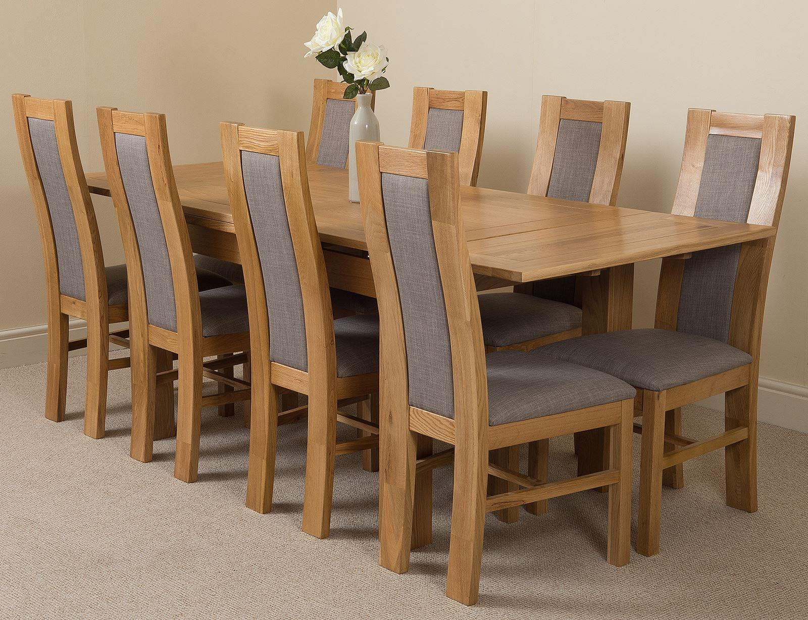 Richmond Oak 140  220cm Extending Dining Table & 8 Stanford Solid Oak Fabric Chairs