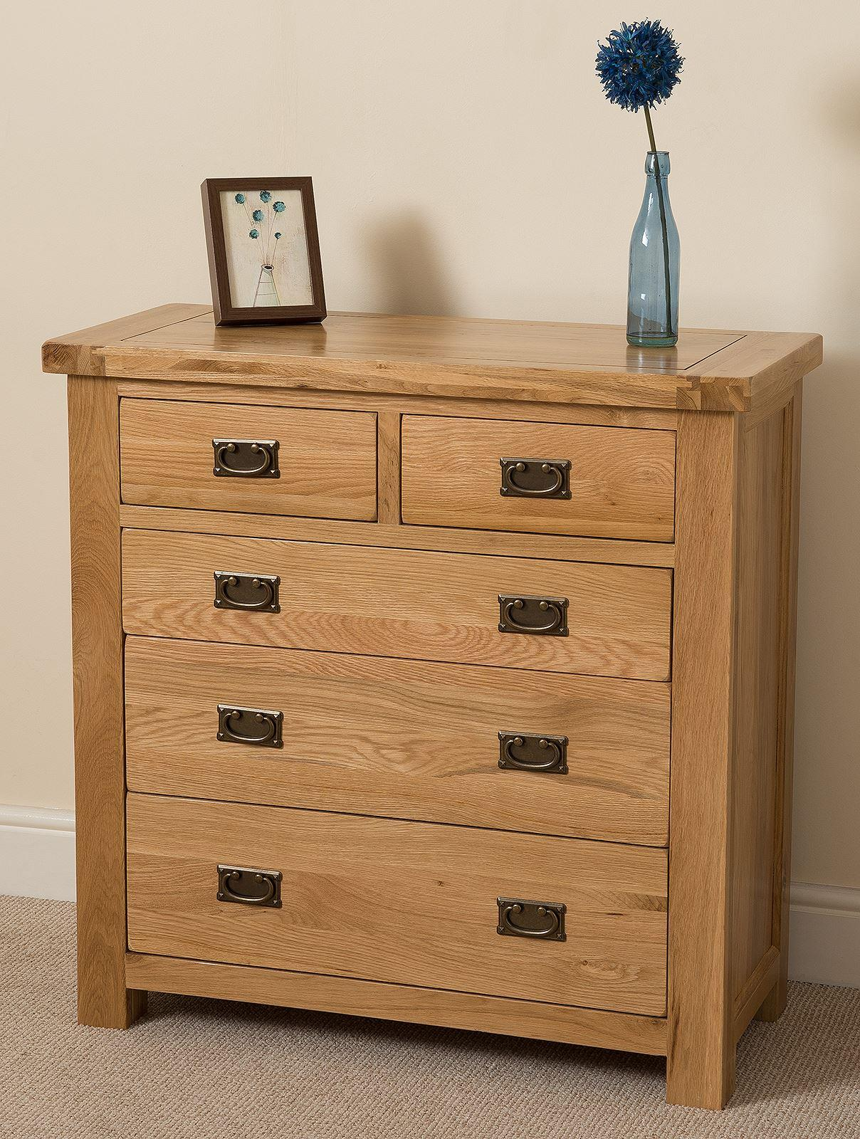 Cottage Light Solid Oak 2+3 Chest of Drawers