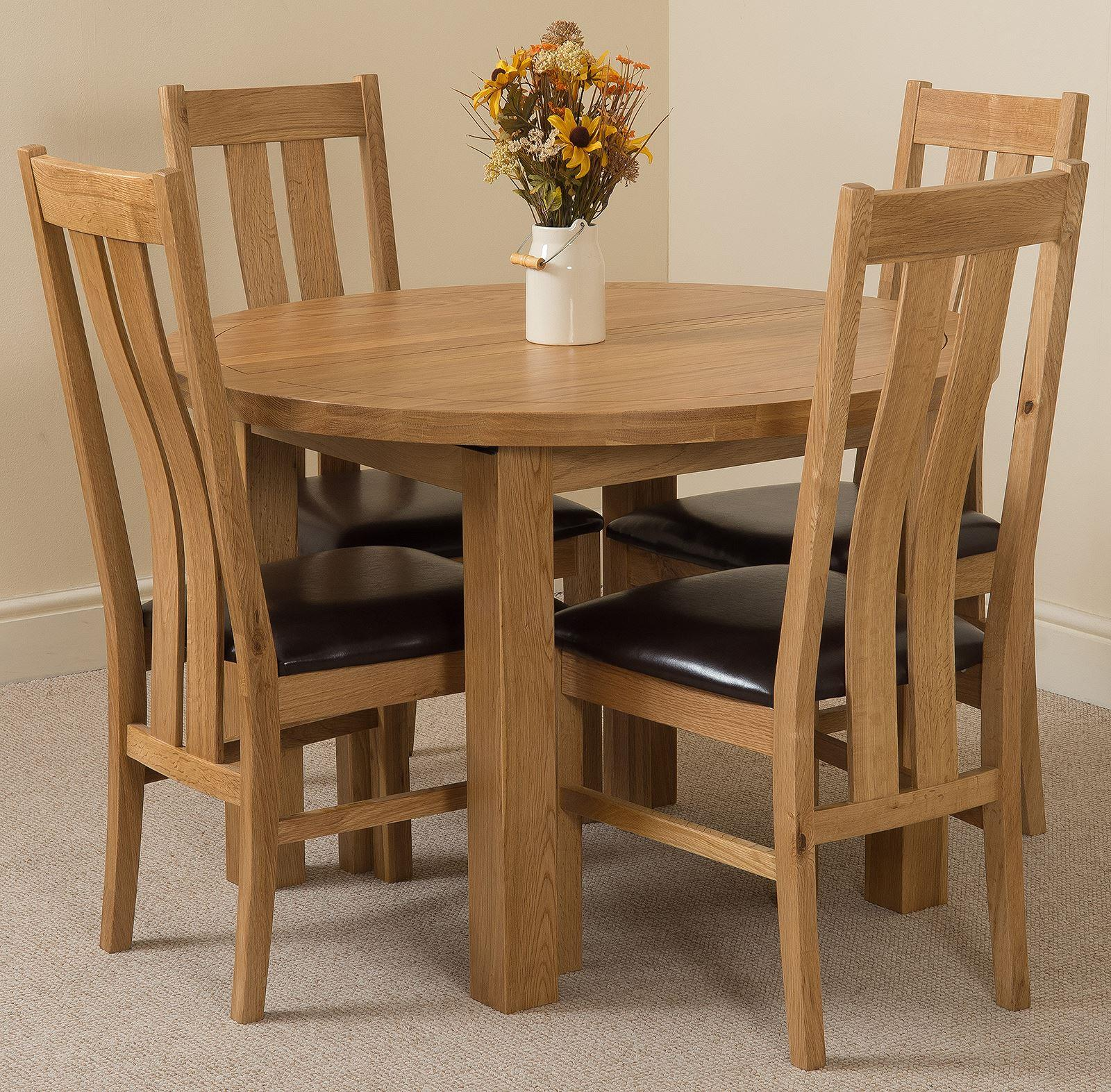 Edmonton Oak Extending Round Dining Table & 4 Princeton Solid Oak Leather Chairs