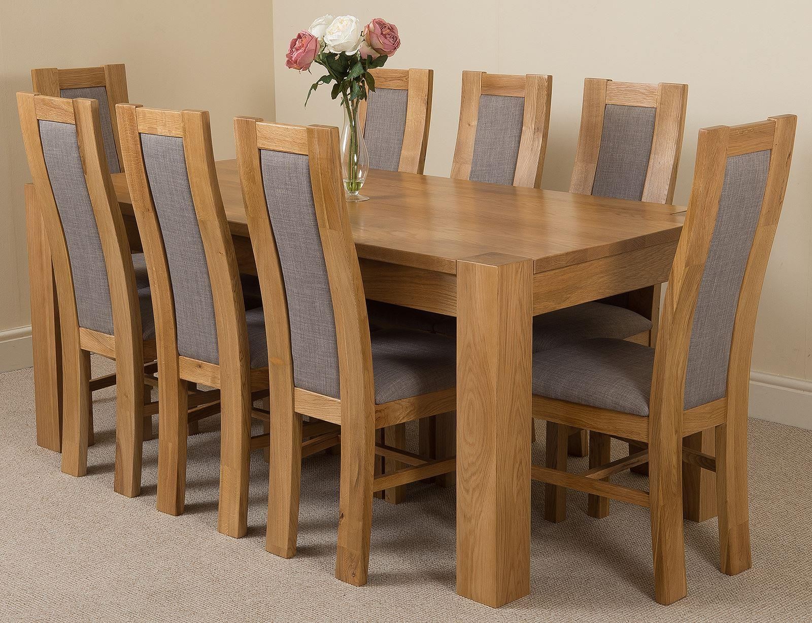 Kuba Solid Oak Dining Table & 8 Stanford Solid Oak Fabric Chairs