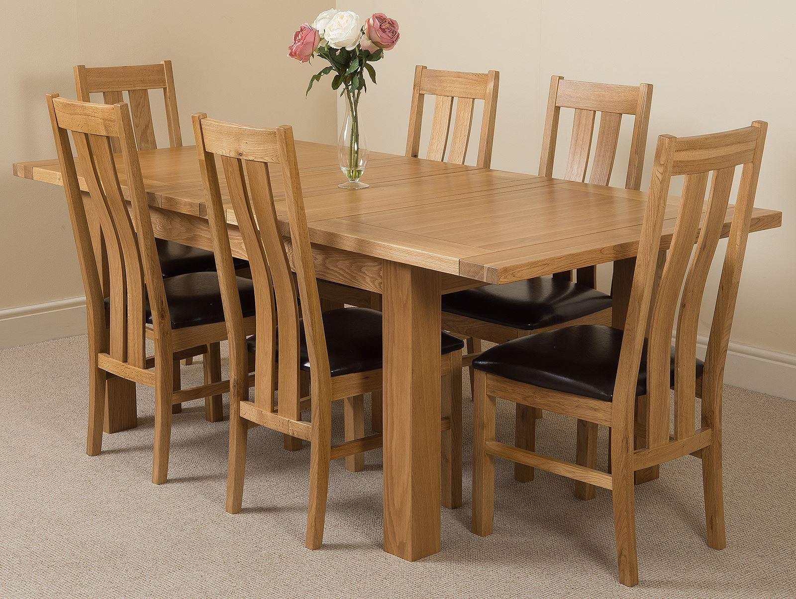 Seattle Extending Dining Table & 6 Princeton Solid Oak Leather Chairs