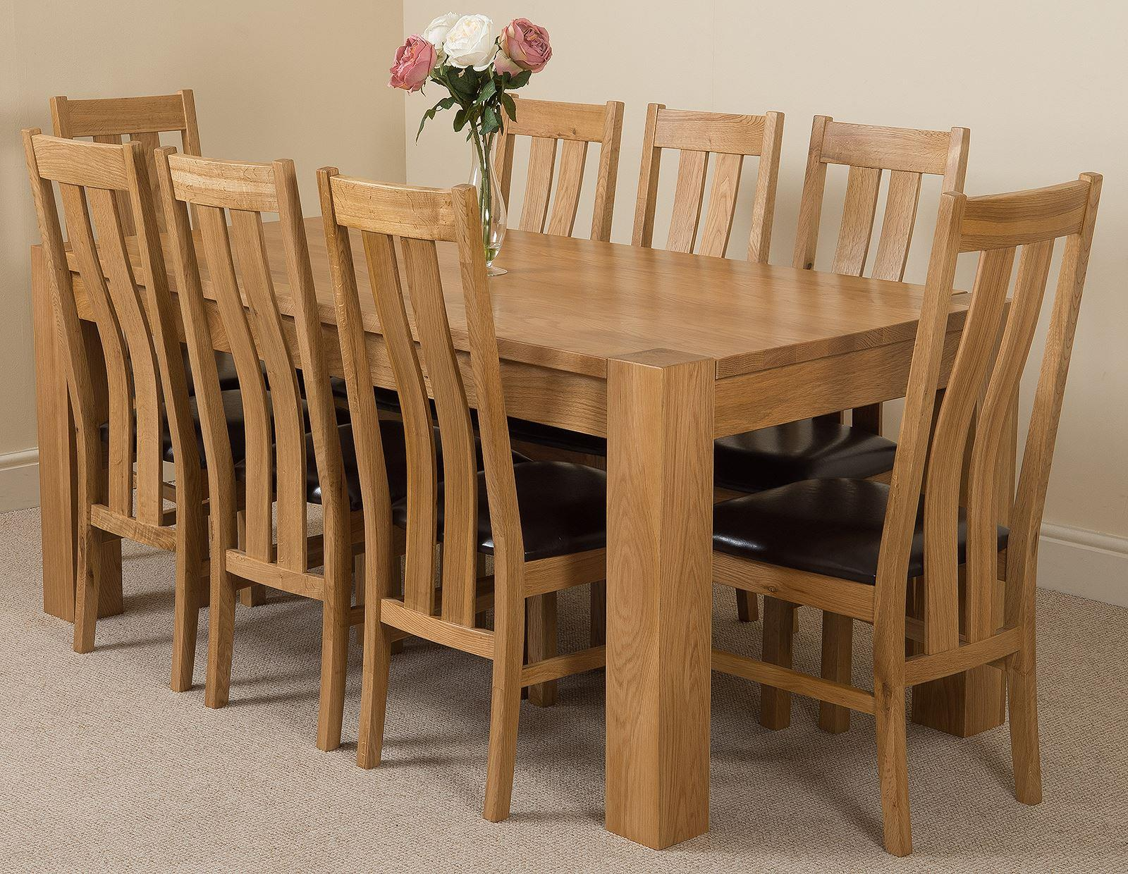Kuba Solid Oak Dining Table & 8 Princeton Solid Oak Leather Chairs