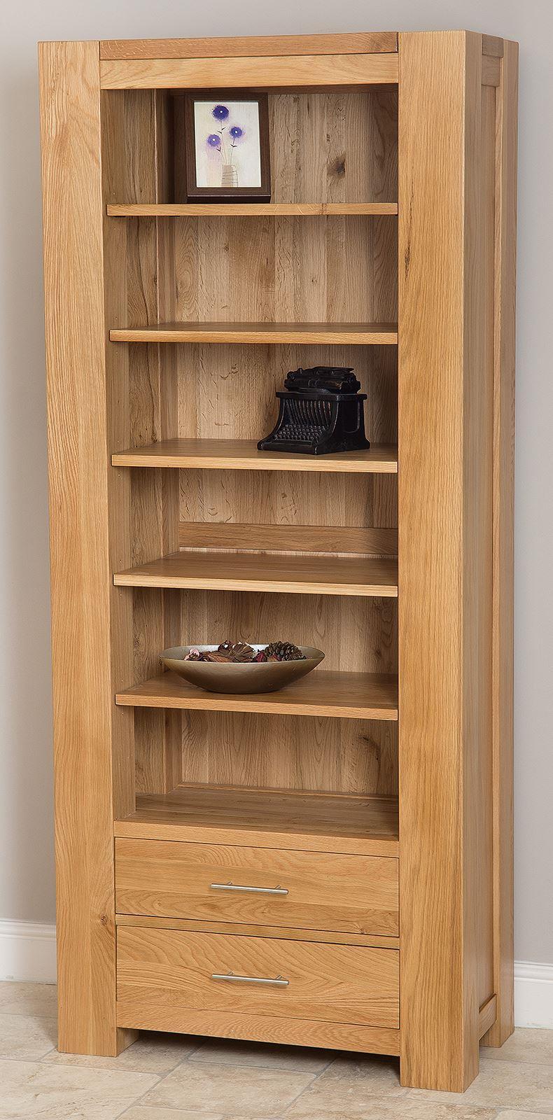 Kuba Solid Oak 2 Drawer Large Bookcase