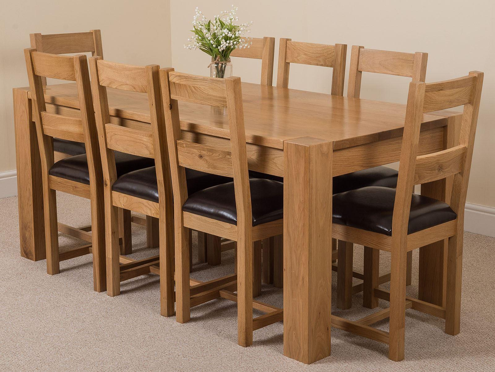 Kuba Solid Oak Dining Table & 8 Lincoln Chairs