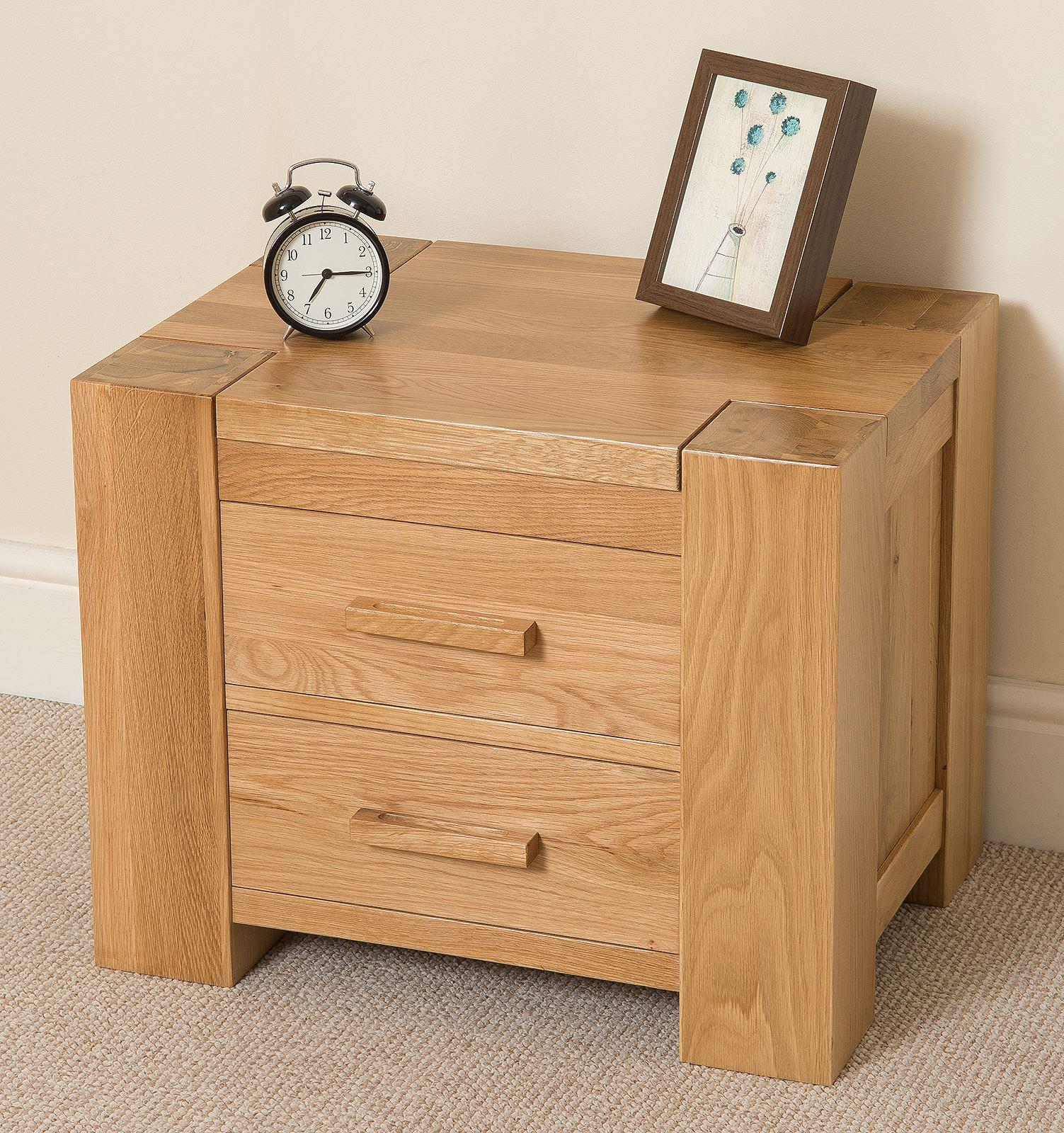 Kuba Solid Oak 2 Drawer Bedside Table