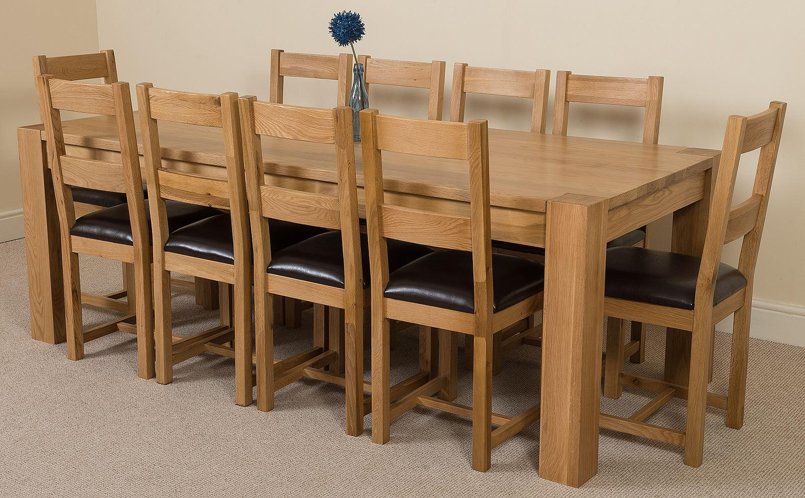 Kuba Solid Oak 220 cm Dining Table with 10 Lincoln Chairs