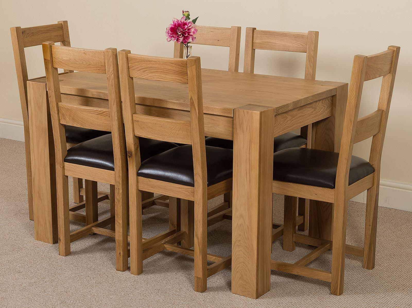 Kuba Solid Oak 125 cm Dining Table with 6 Lincoln Chairs