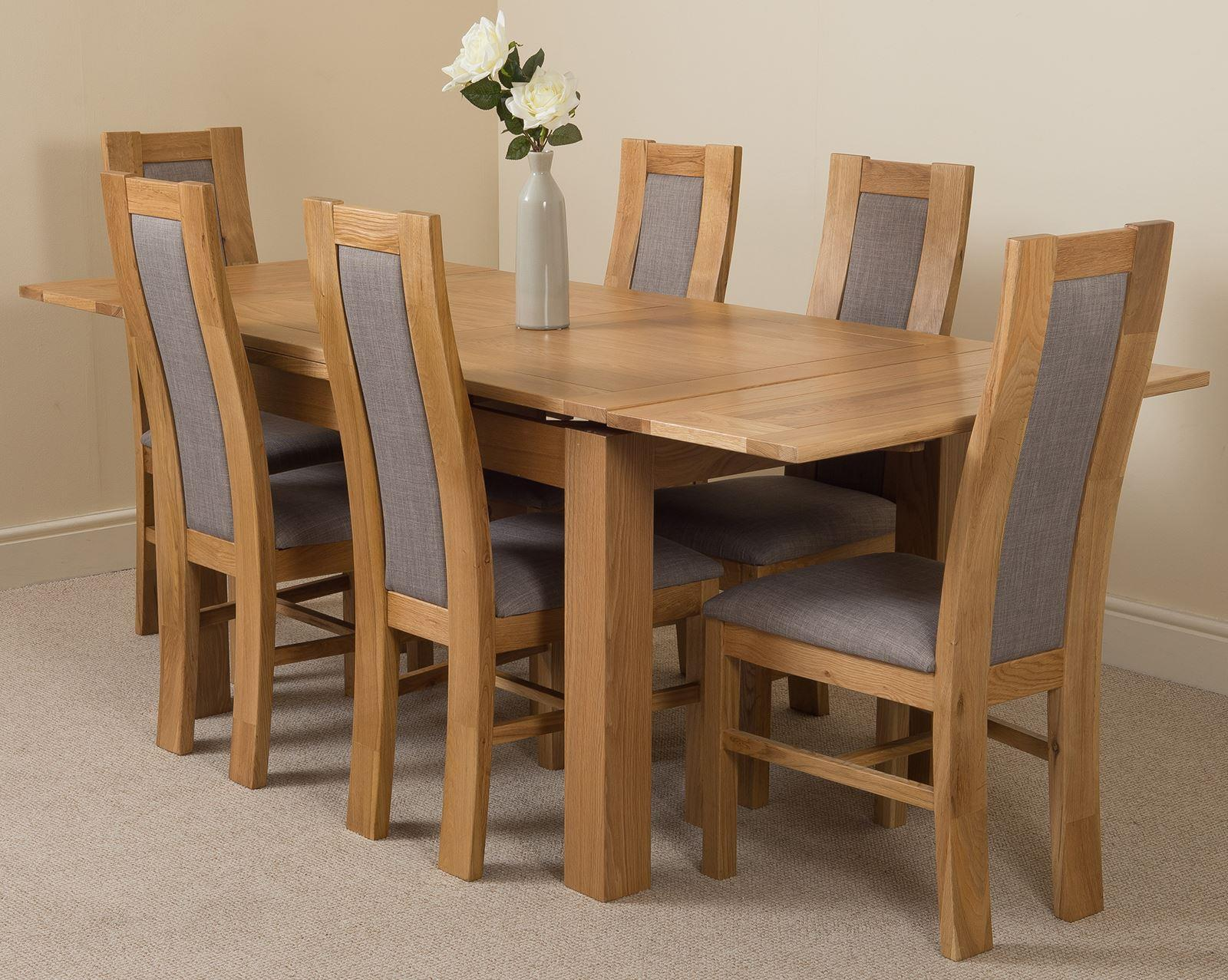 Richmond Oak 140  220cm Extending Dining Table & 6 Stanford Solid Oak Fabric Chairs