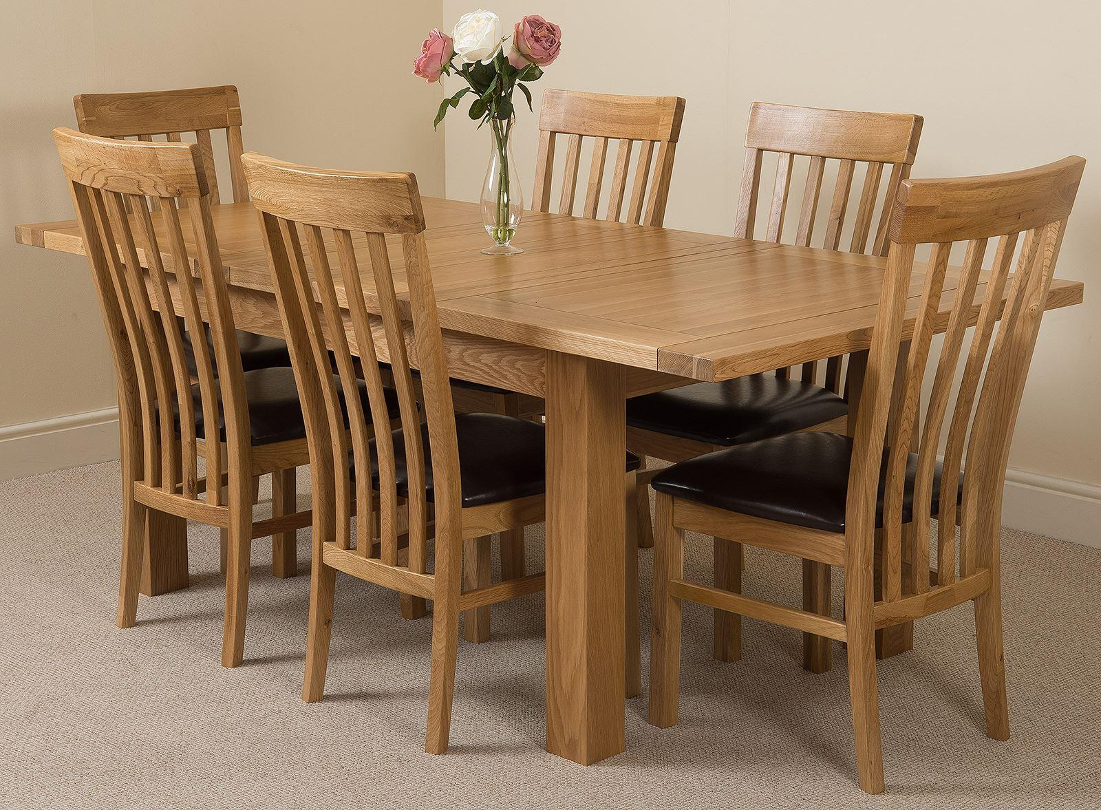 Seattle Extending Dining Table & 6 Harvard Solid Oak Leather Chairs
