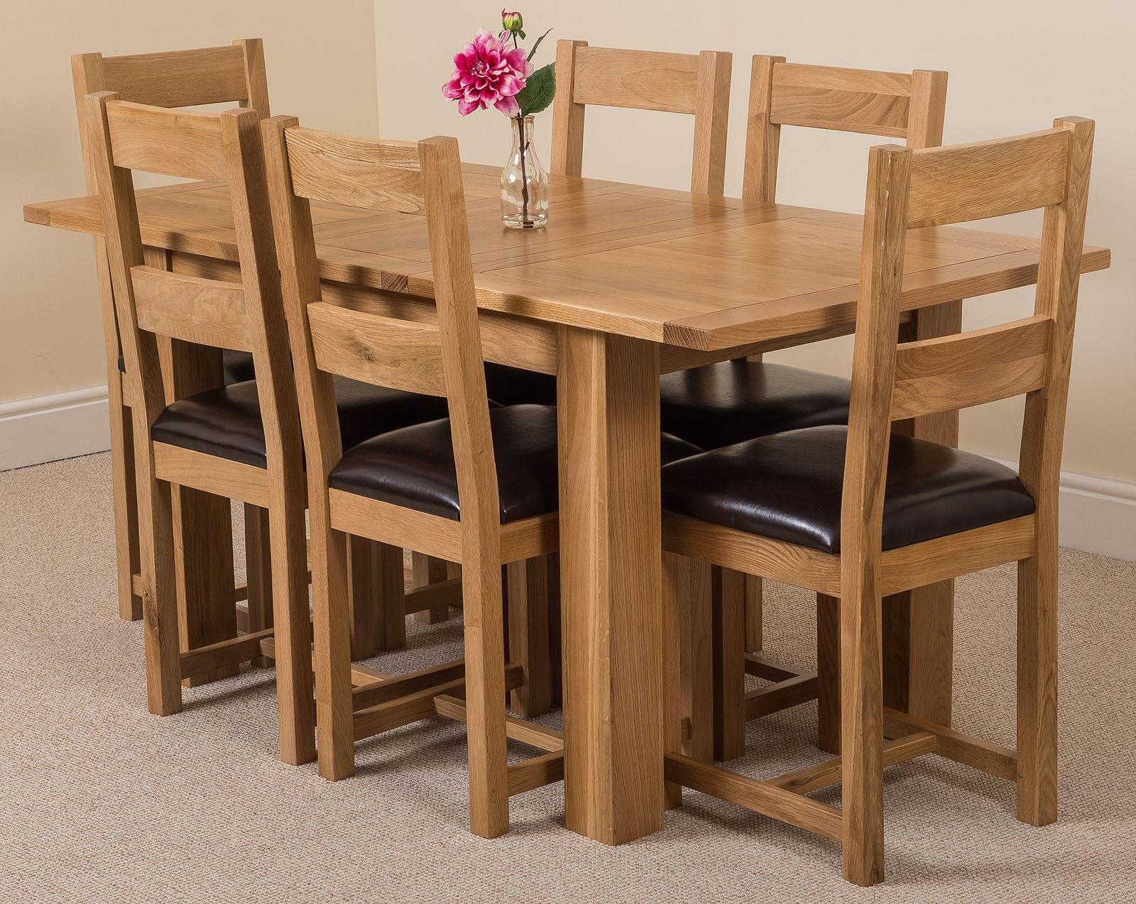 Tables Hampton Solid Oak Extension Dining Table & 6 Lincoln Oak Leather Chairs
