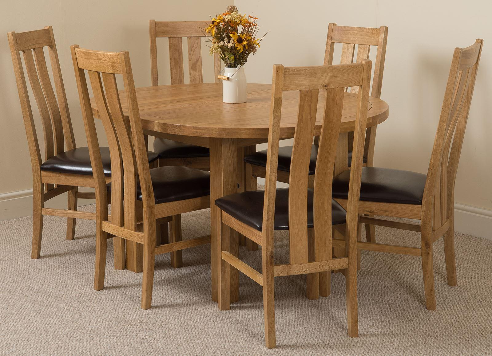 Edmonton Oak Extending Round Dining Table & 6 Princeton Solid Oak Leather Chairs