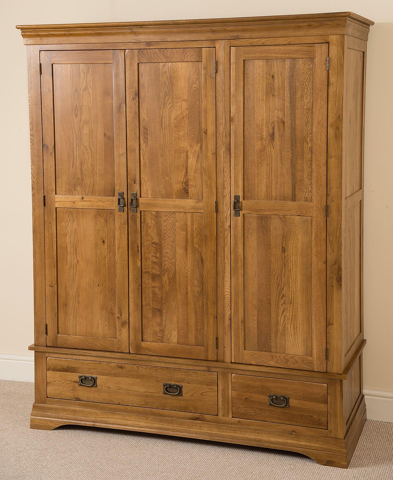 French Chateau Rustic Solid Oak Triple Wardrobe