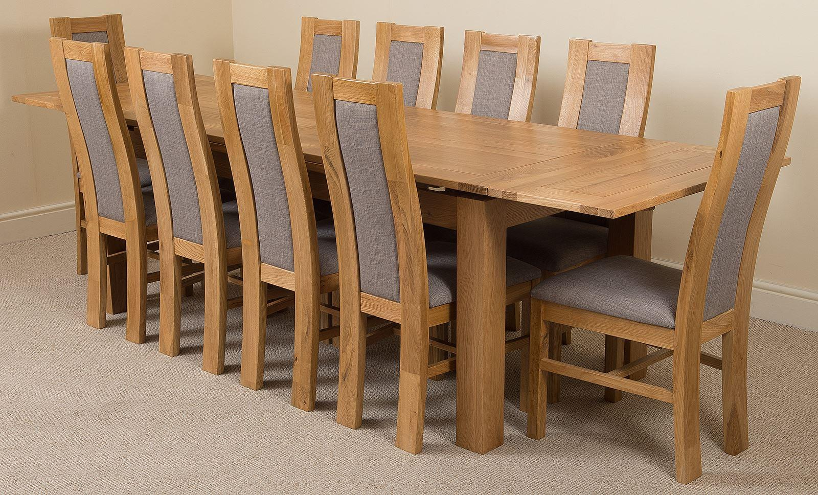 Chairs Richmond Oak 200 - 280 cm Extending Dining Table & 10 Stanford Solid Oak Fabric Chairs